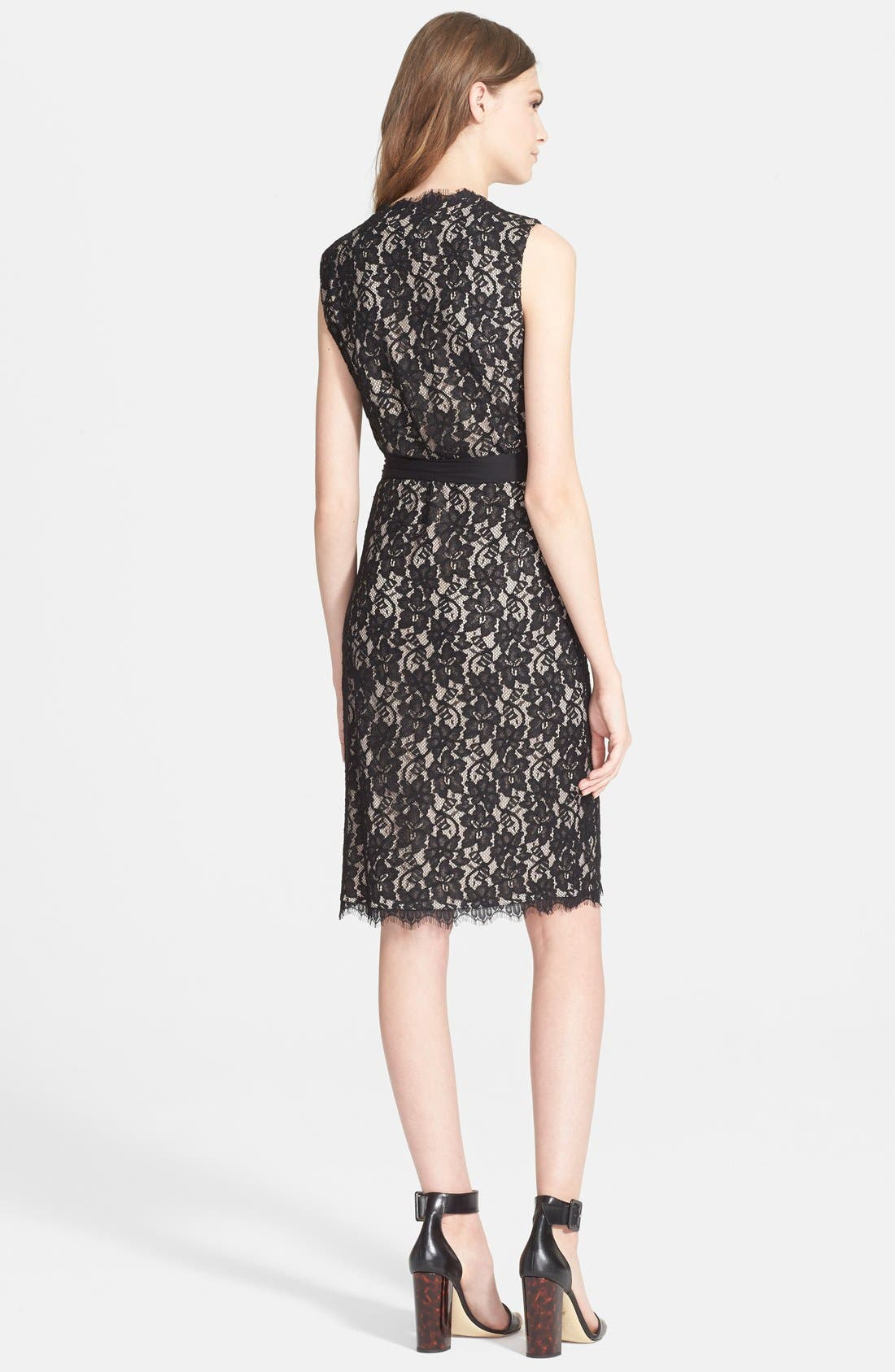 'Julianna Two' Lace Wrap Dress,                             Alternate thumbnail 3, color,                             003