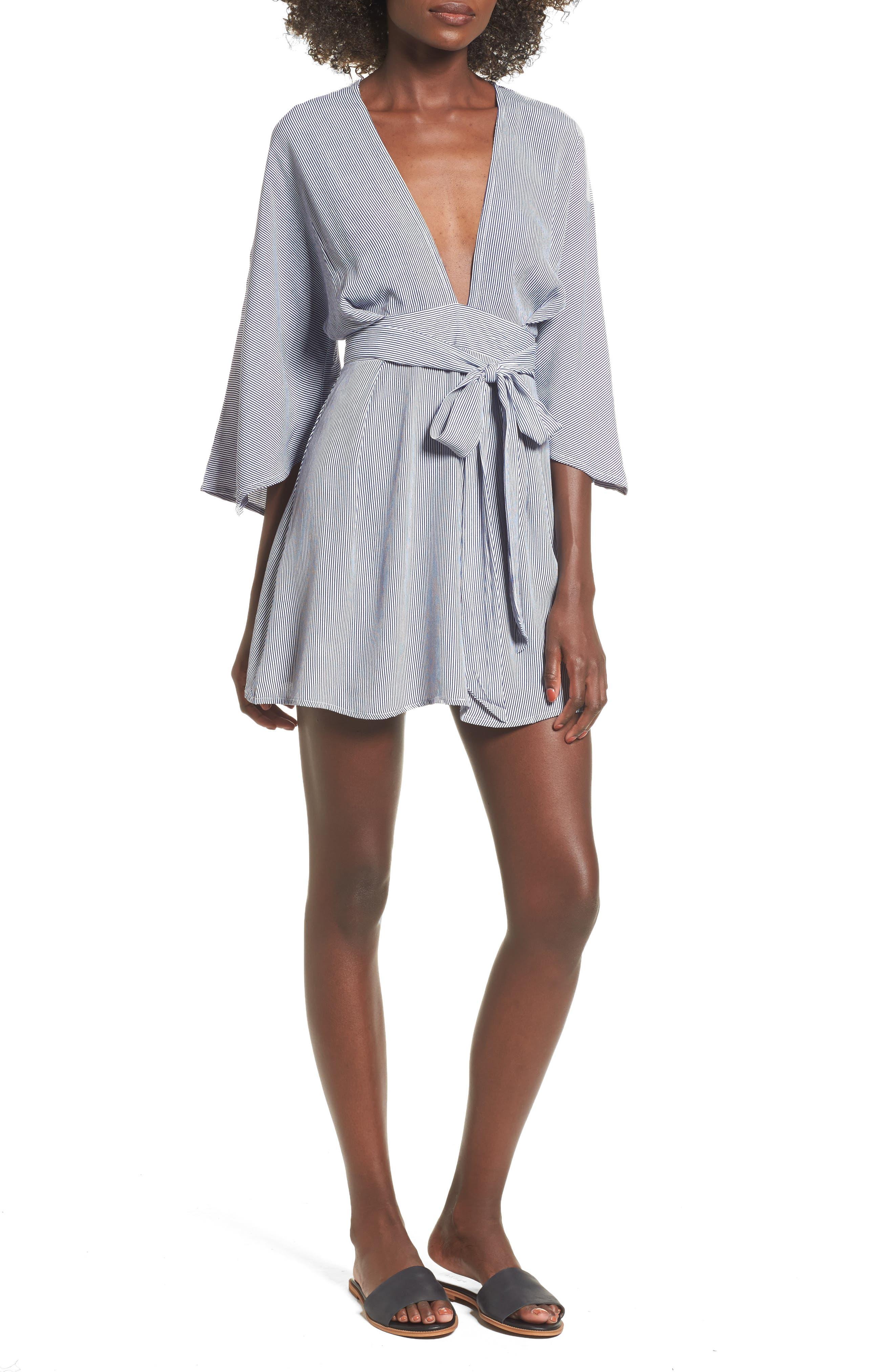 Nova Stripe Lace-Up Shirtdress,                         Main,                         color, 400