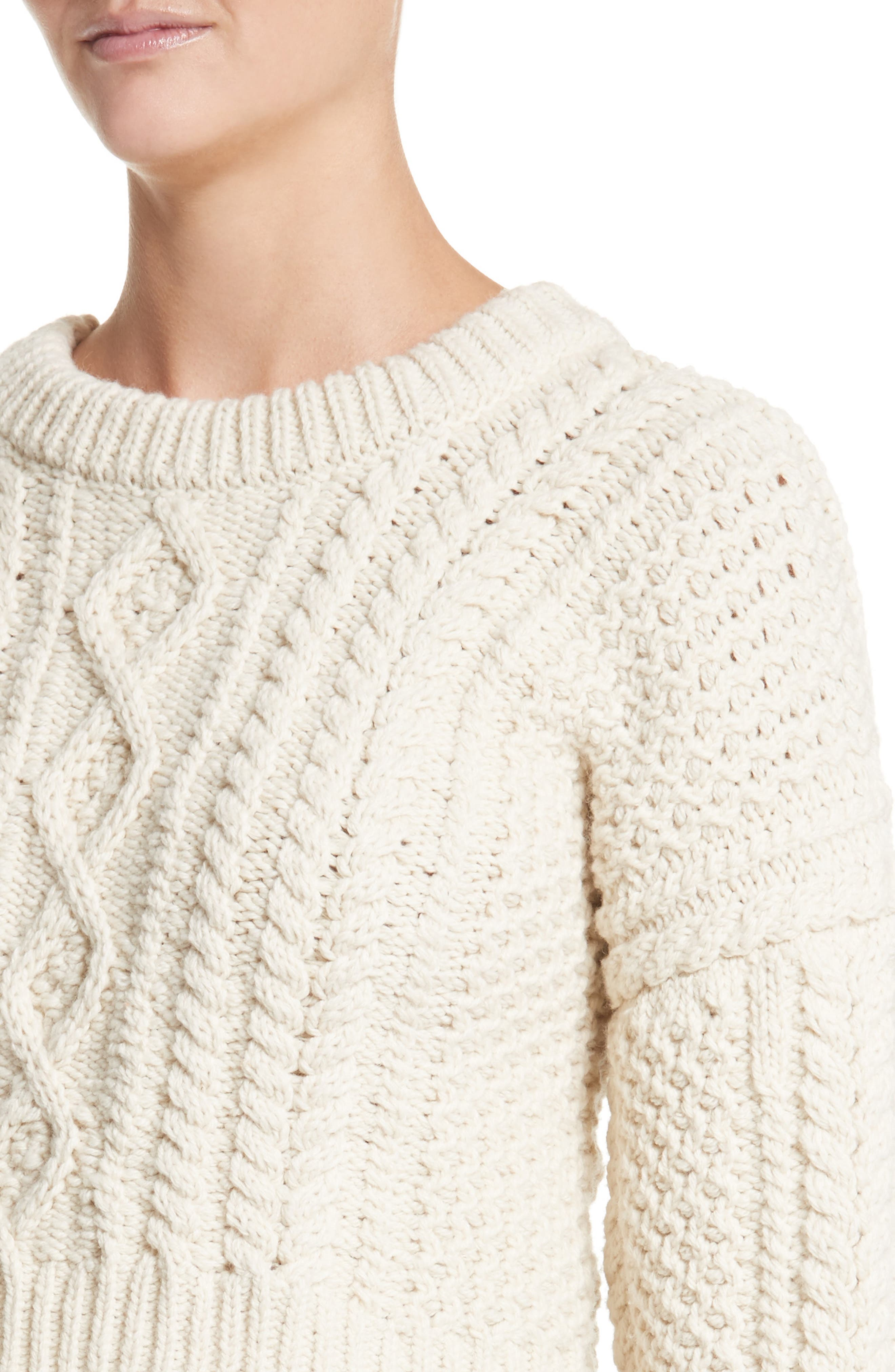 Back Strap Cable Knit Crop Sweater,                             Alternate thumbnail 4, color,                             900