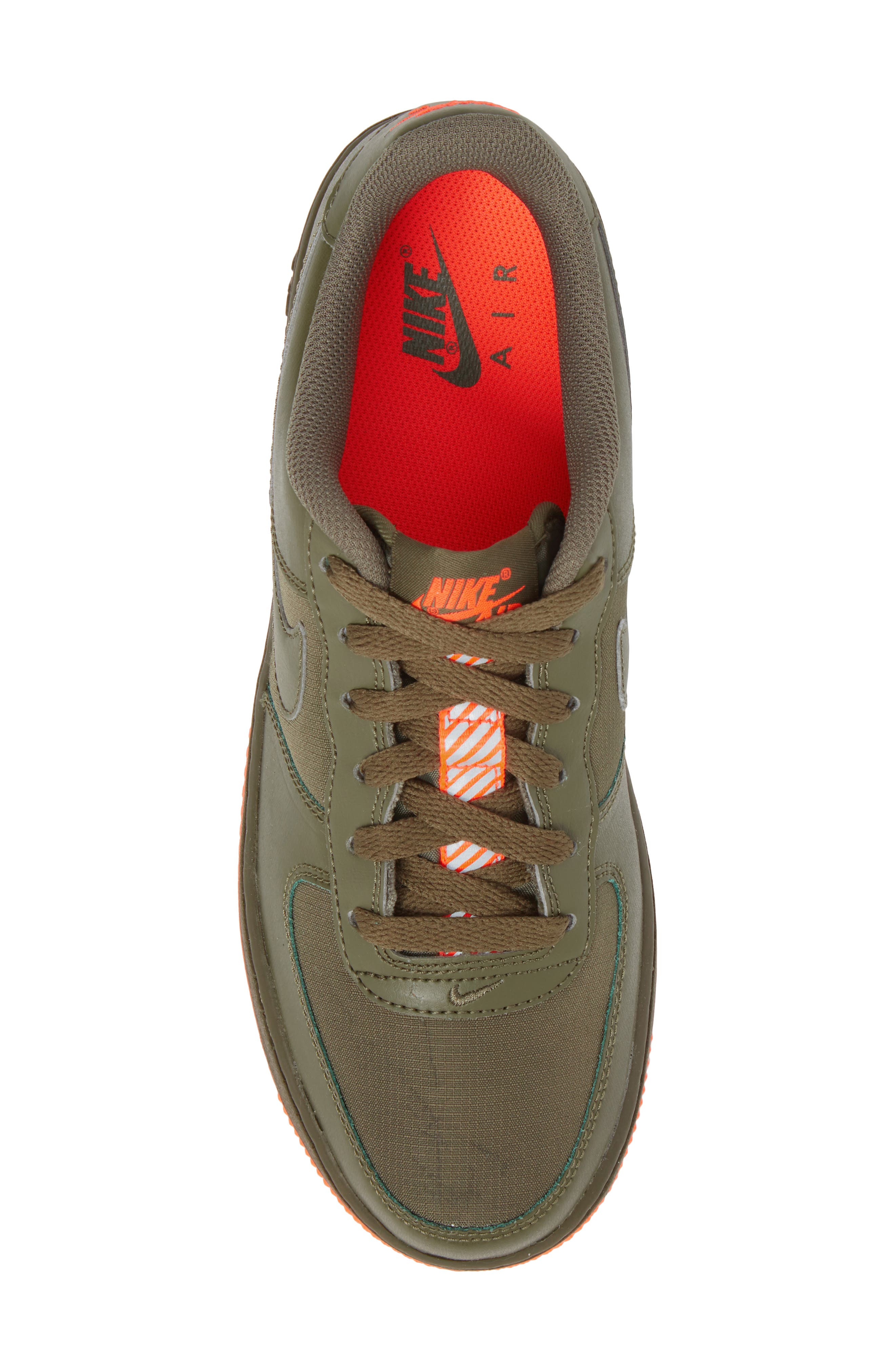 Air Force 1 LV8 Sneaker,                             Alternate thumbnail 5, color,                             MEDIUM OLIVE/ TOTAL CRIMSON