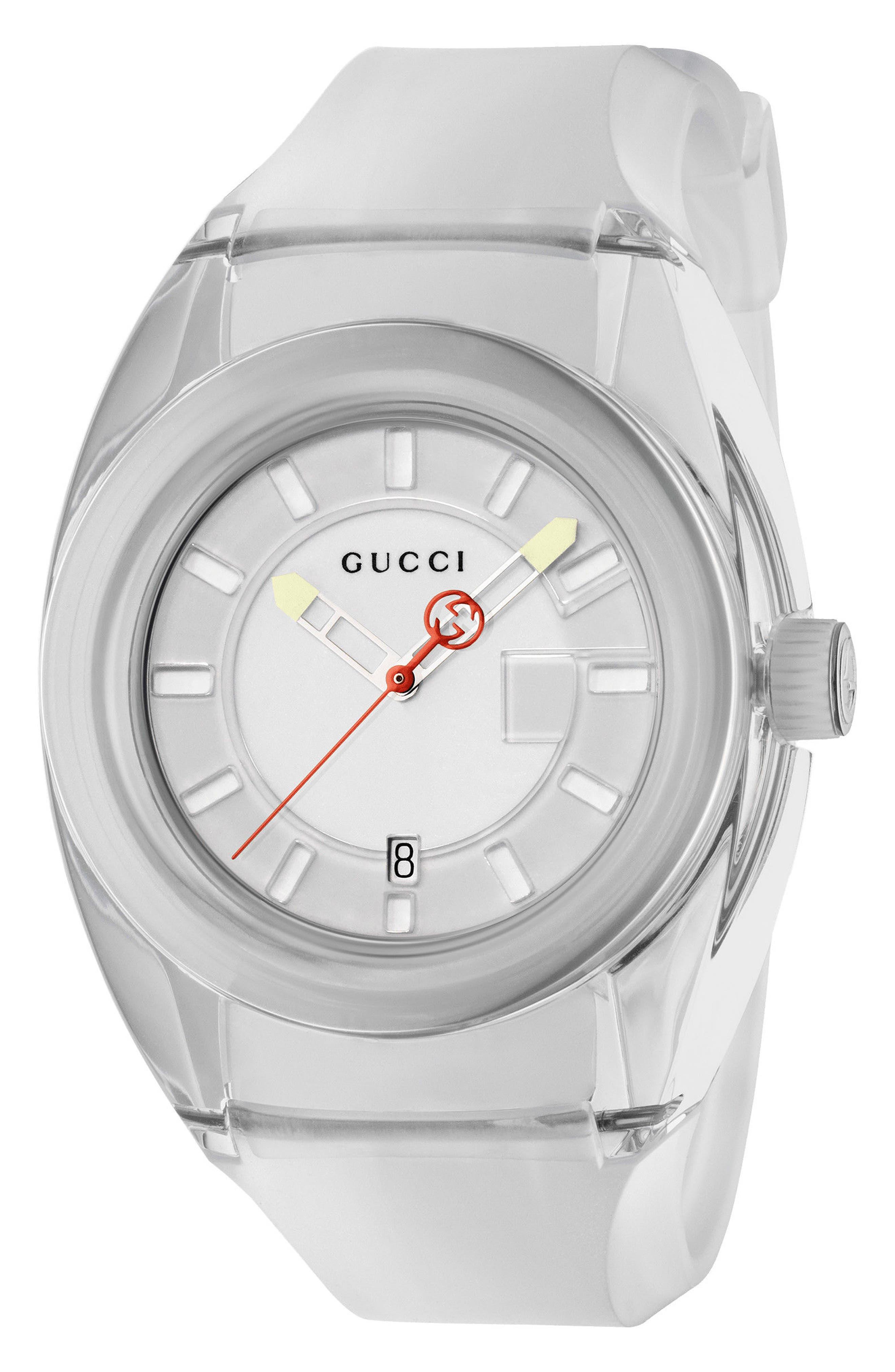 Sync Transparent Rubber Strap Watch, 46mm,                             Main thumbnail 1, color,                             WHITE