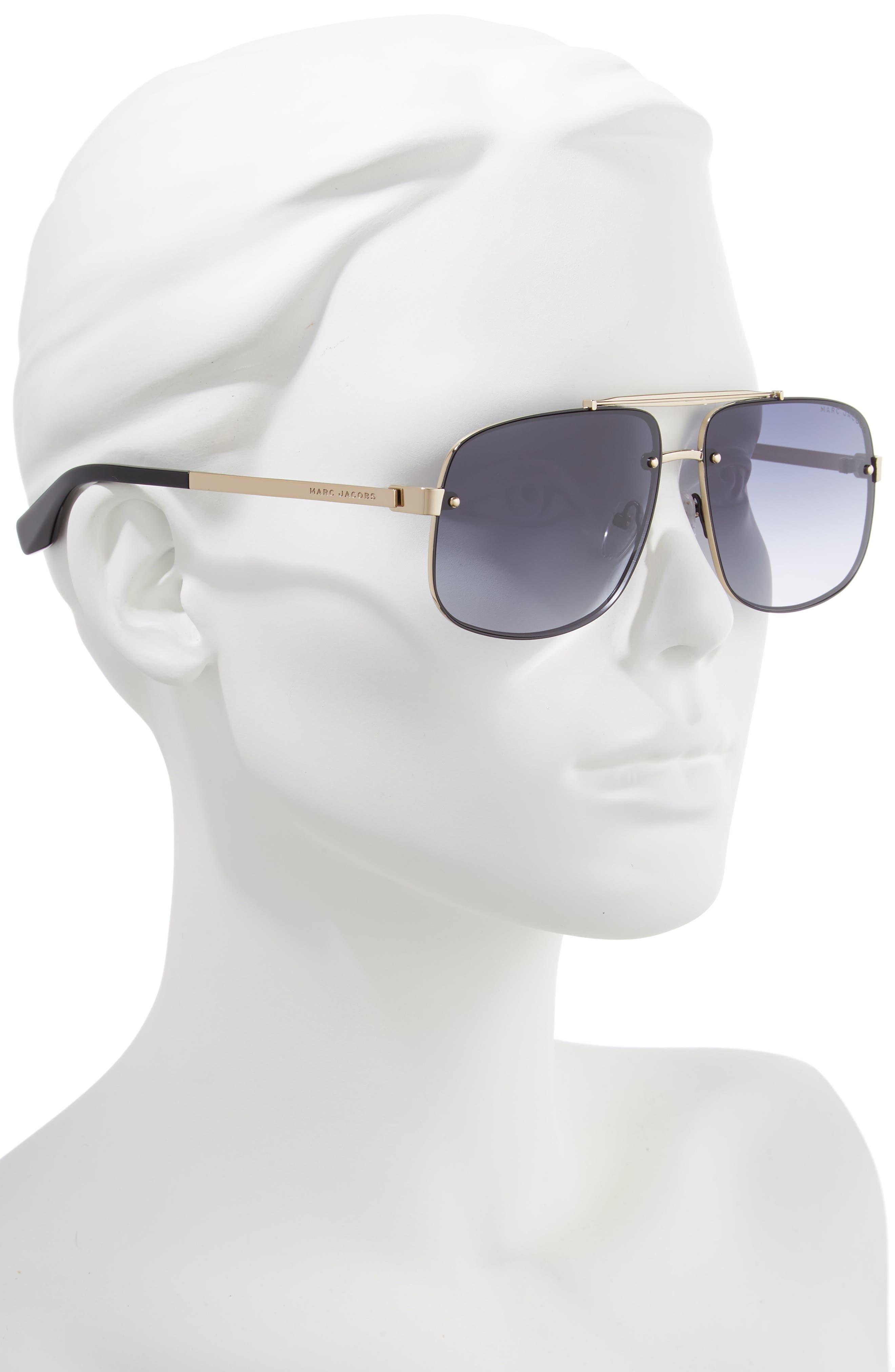 61mm Navigator Sunglasses,                             Alternate thumbnail 2, color,                             BLACK/ GOLD