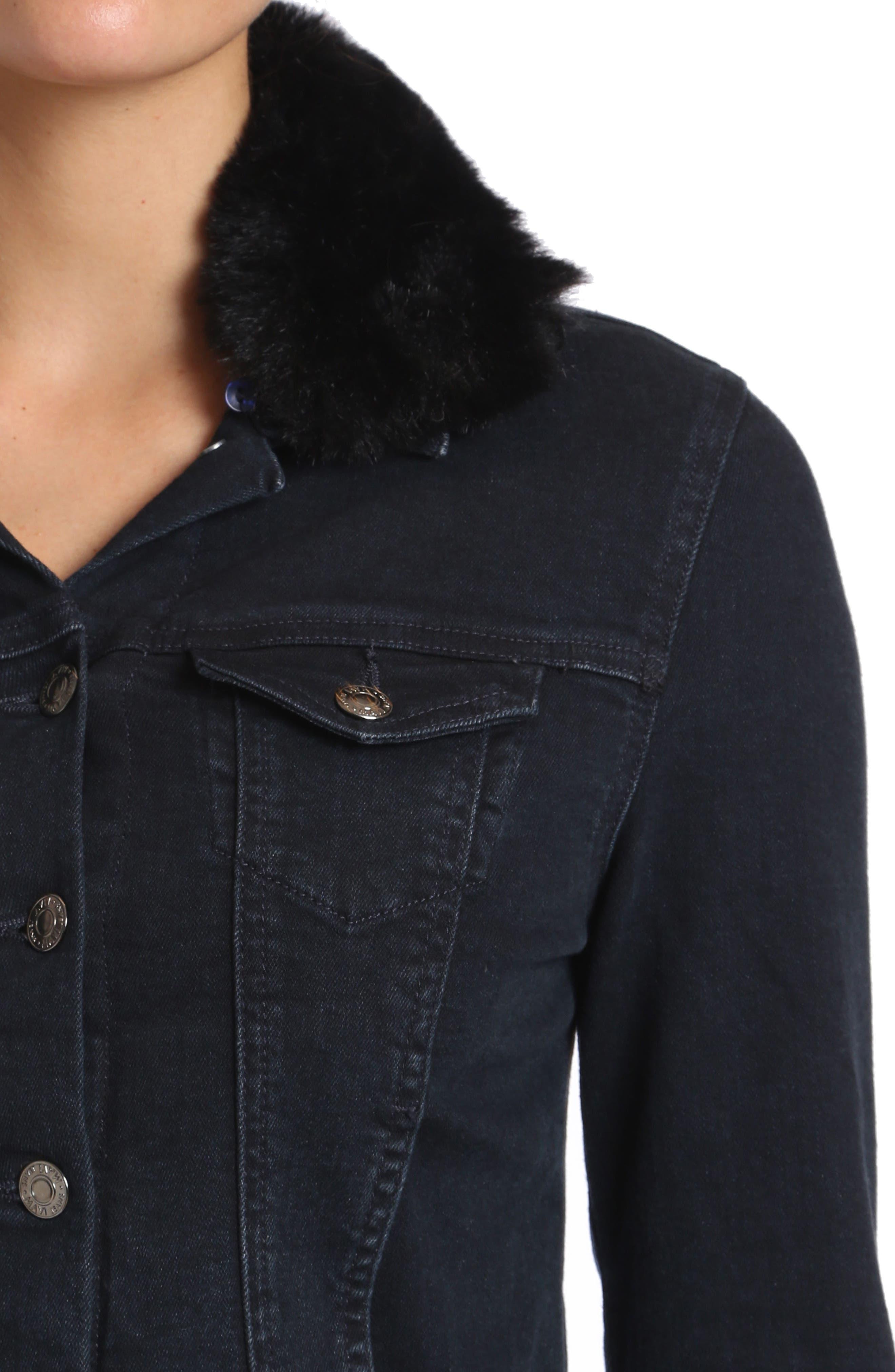 Samantha Faux Fur Collar Denim Jacket,                             Alternate thumbnail 4, color,                             011