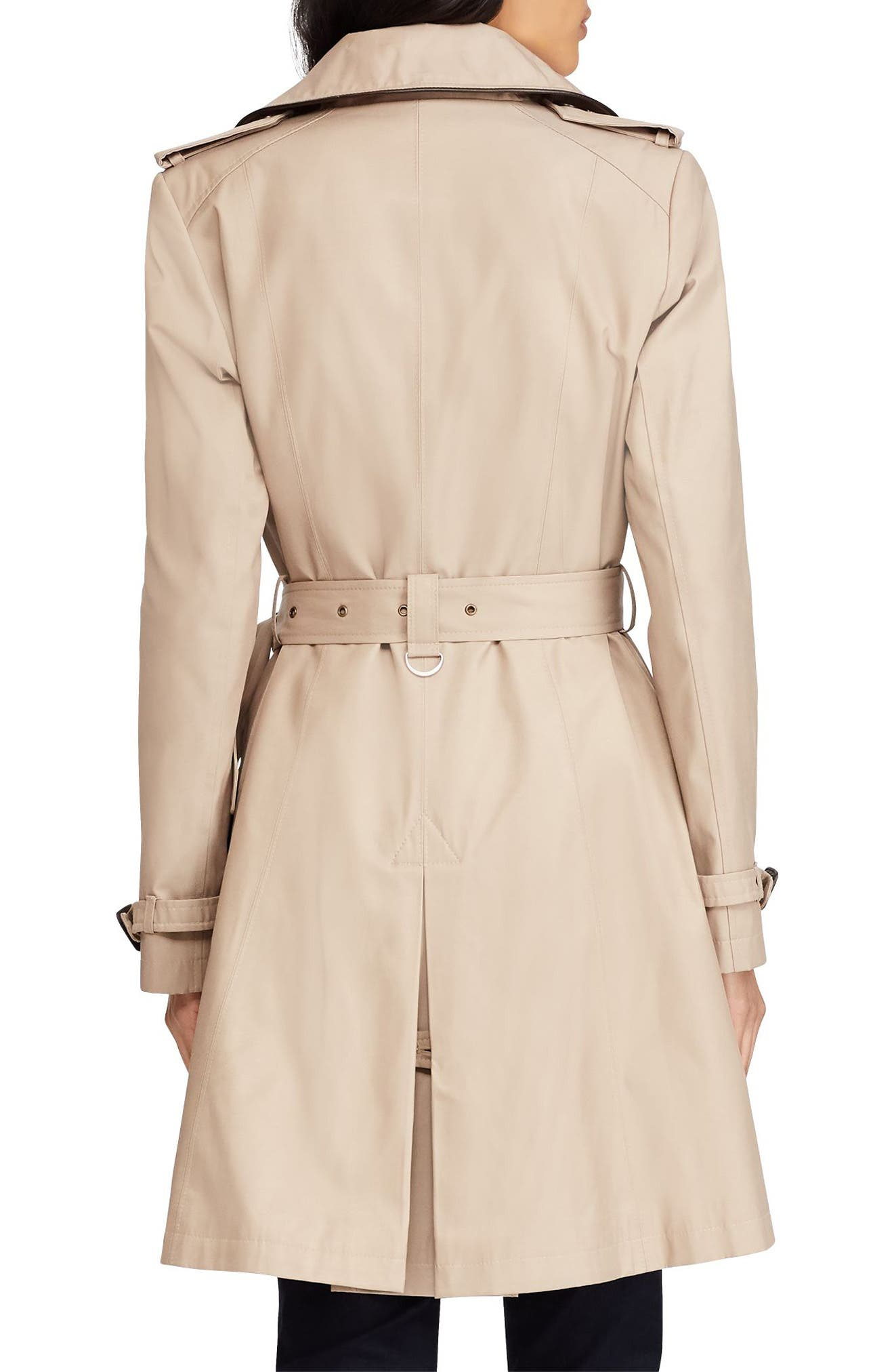 Double Breasted Short Trench Coat,                             Alternate thumbnail 2, color,                             SAND