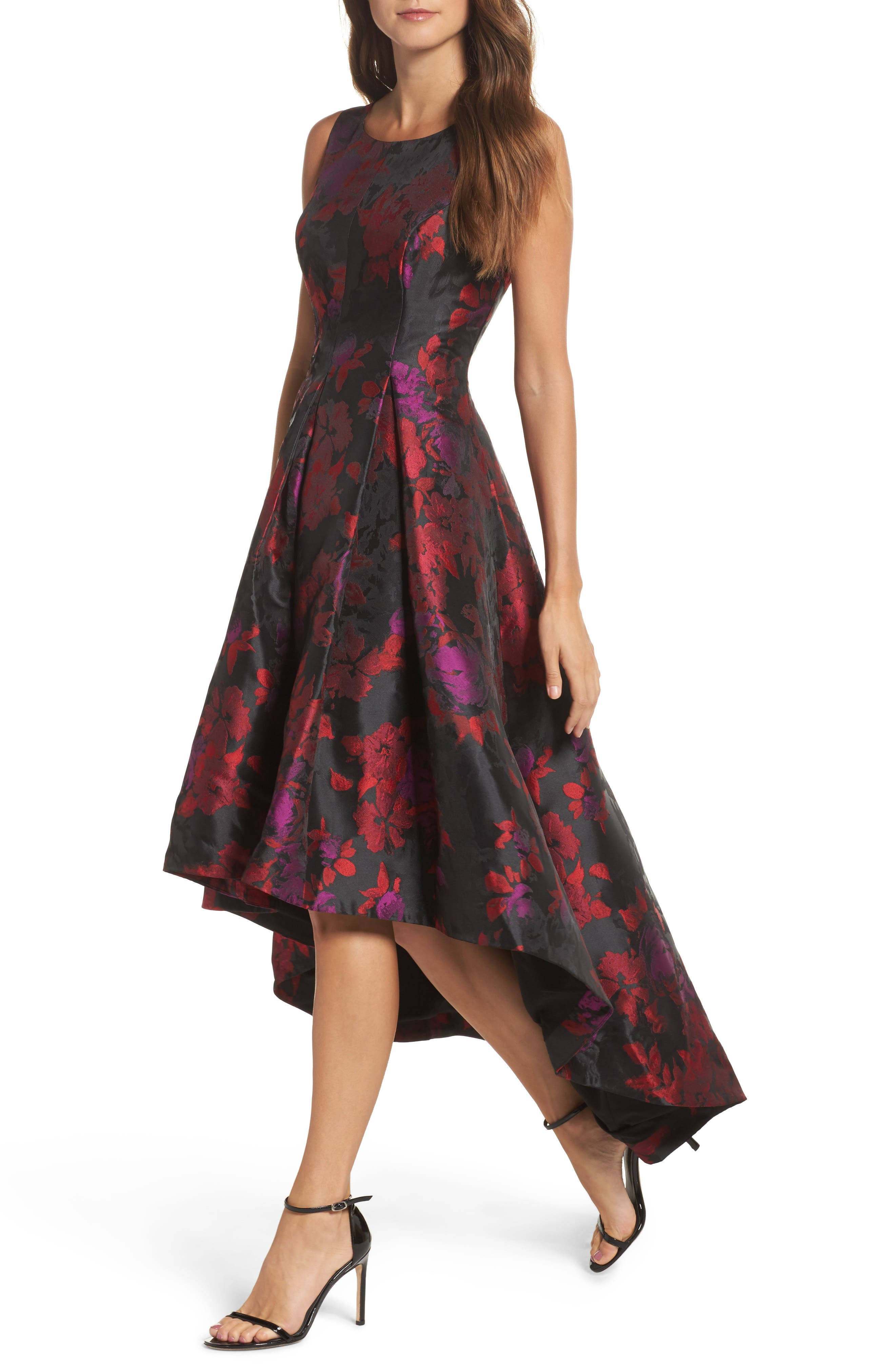 Floral Jacquard High/Low Gown,                             Alternate thumbnail 4, color,                             606