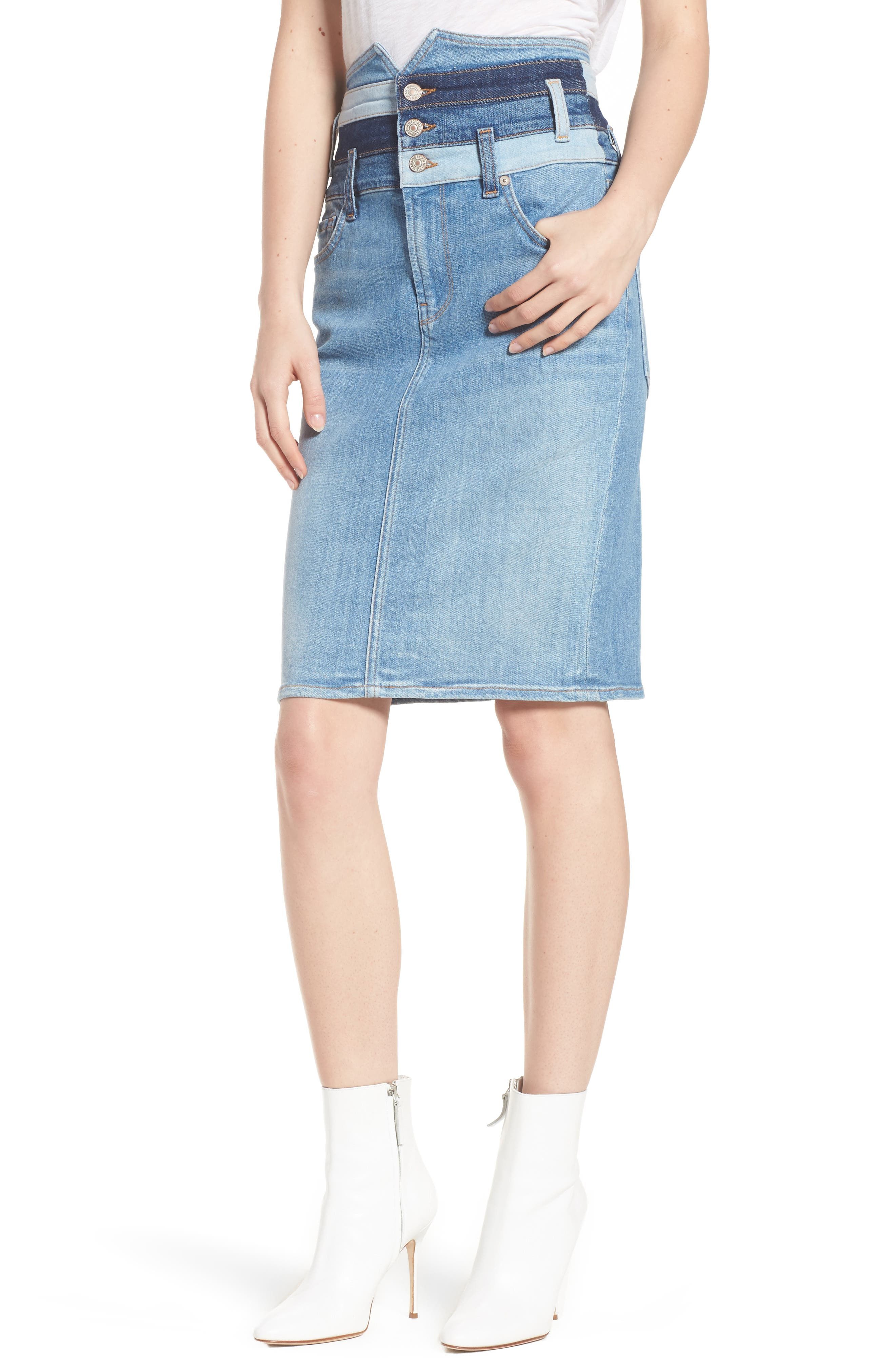 Patchwork Denim Skirt,                         Main,                         color, 400