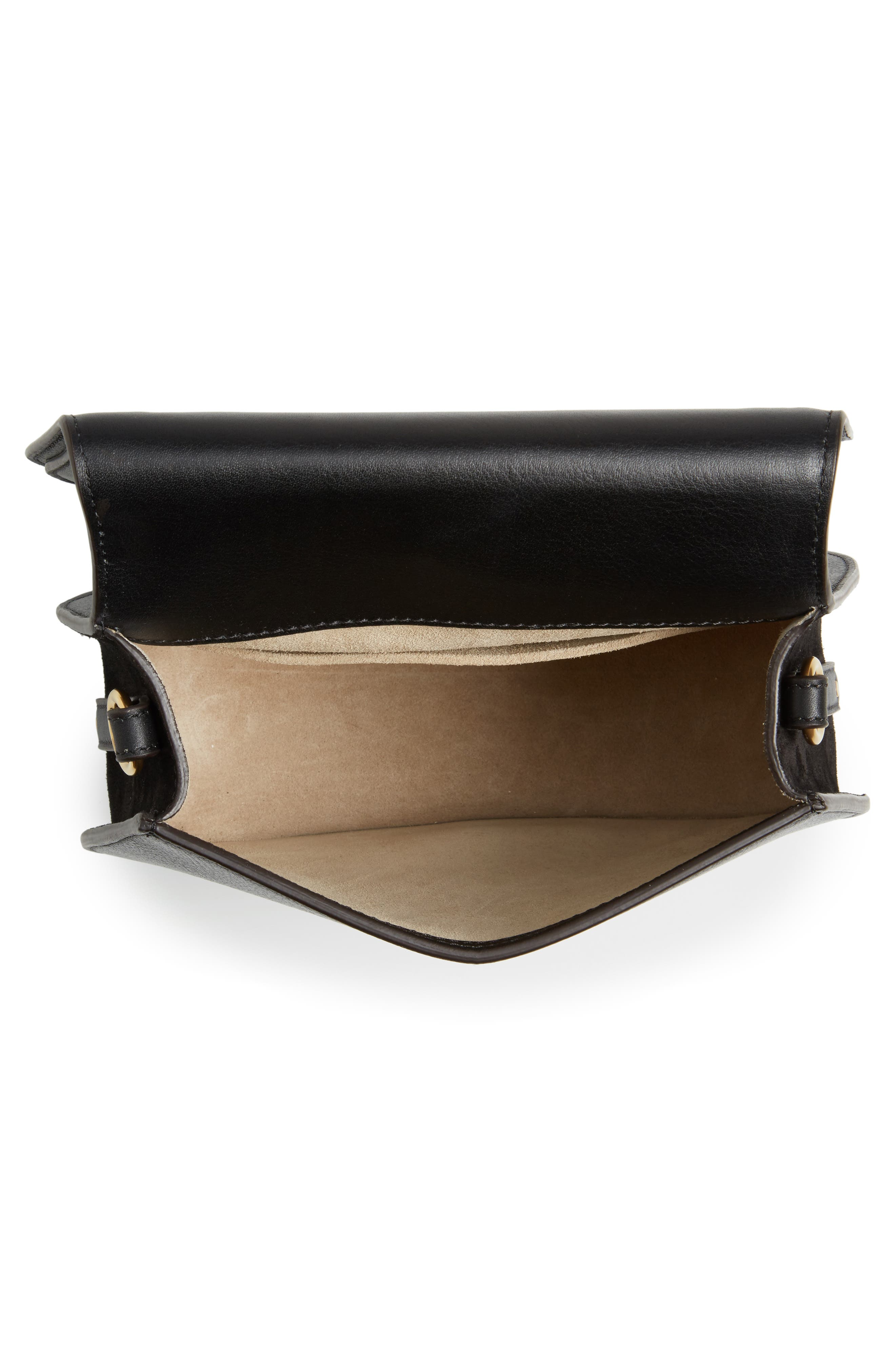 Medium Nile Leather Bracelet Saddle Bag,                             Alternate thumbnail 5, color,                             001NR001 BLACK