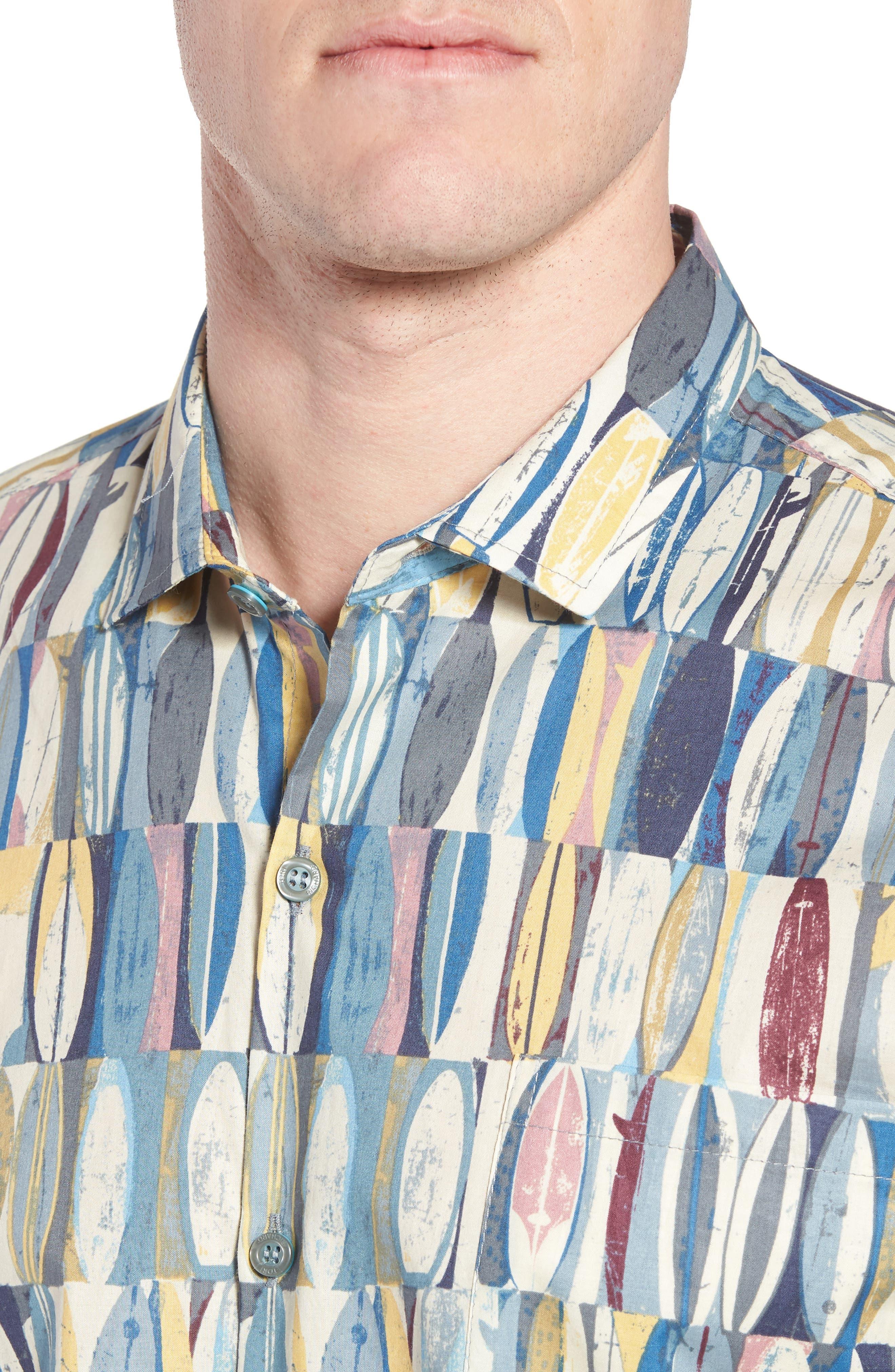Board Room Trim Fit Camp Shirt,                             Alternate thumbnail 4, color,                             469