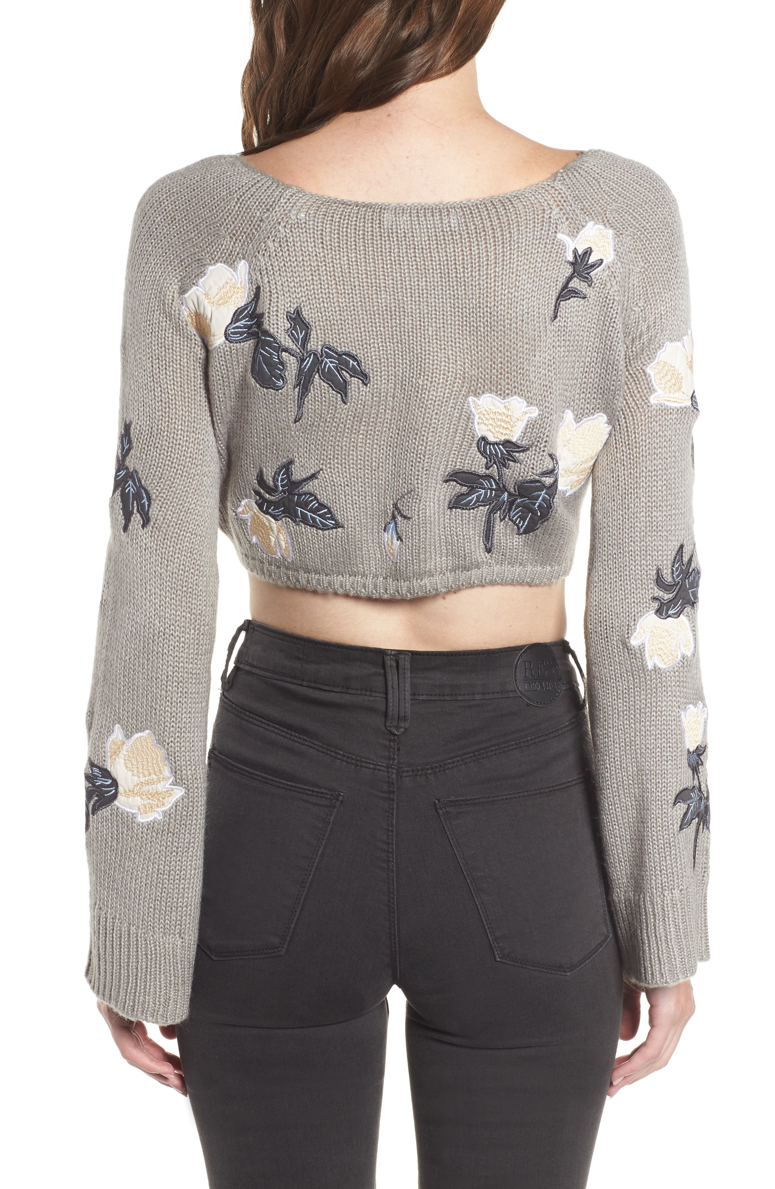 Floral Detail Bell Sleeve Crop Sweater,                             Alternate thumbnail 2, color,                             060
