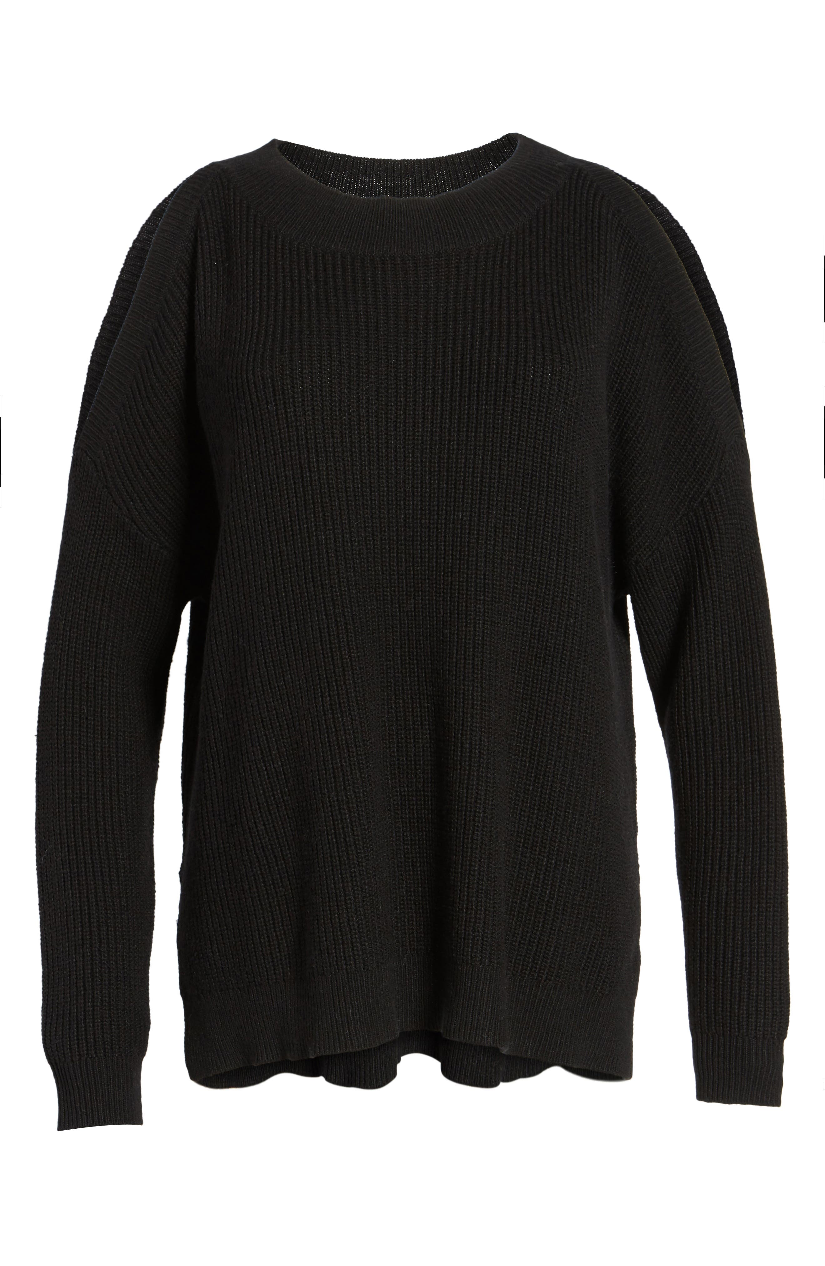 Cold Shoulder Tunic Sweater,                             Alternate thumbnail 6, color,                             001