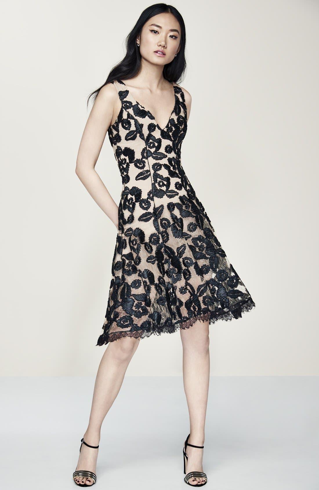 Maya Lace Fit & Flare Dress,                             Alternate thumbnail 6, color,                             002