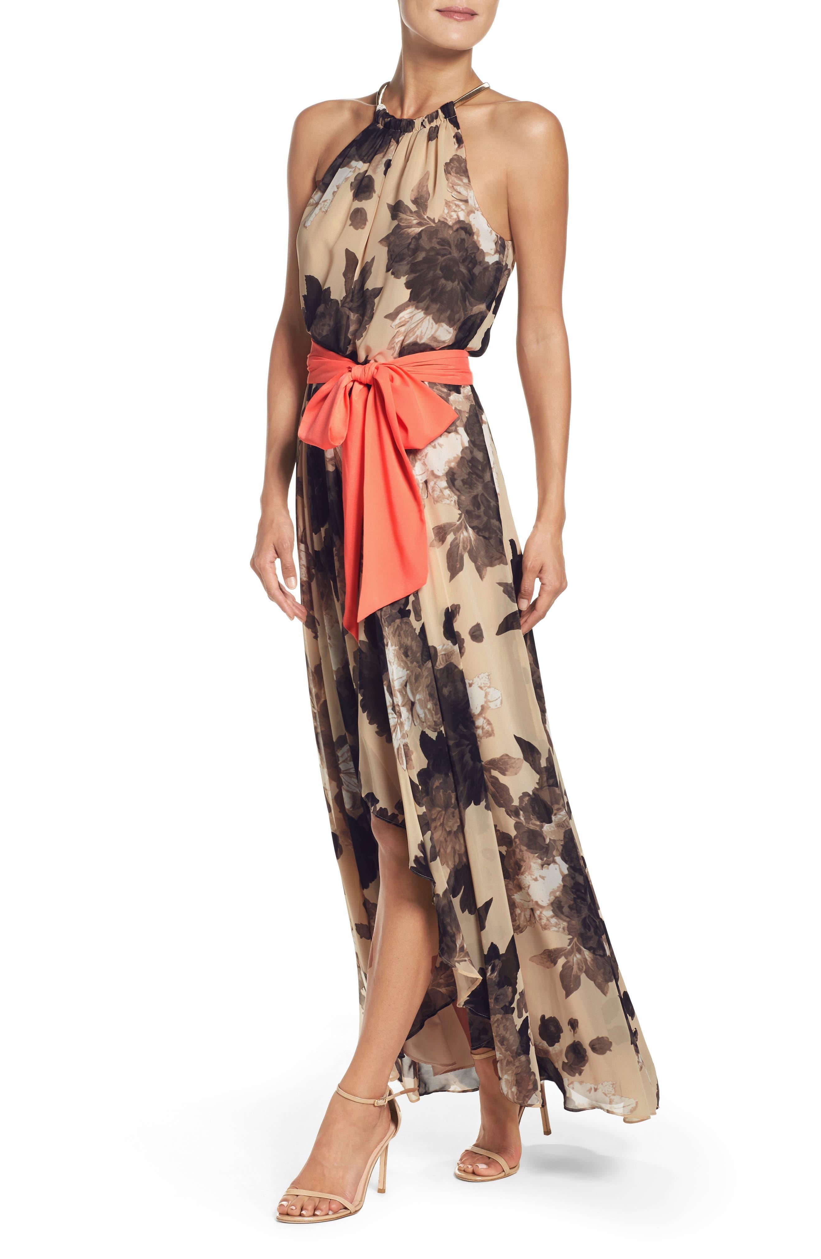 Floral Print Halter Chiffon Maxi Dress,                             Alternate thumbnail 4, color,                             TAUPE/ BLACK