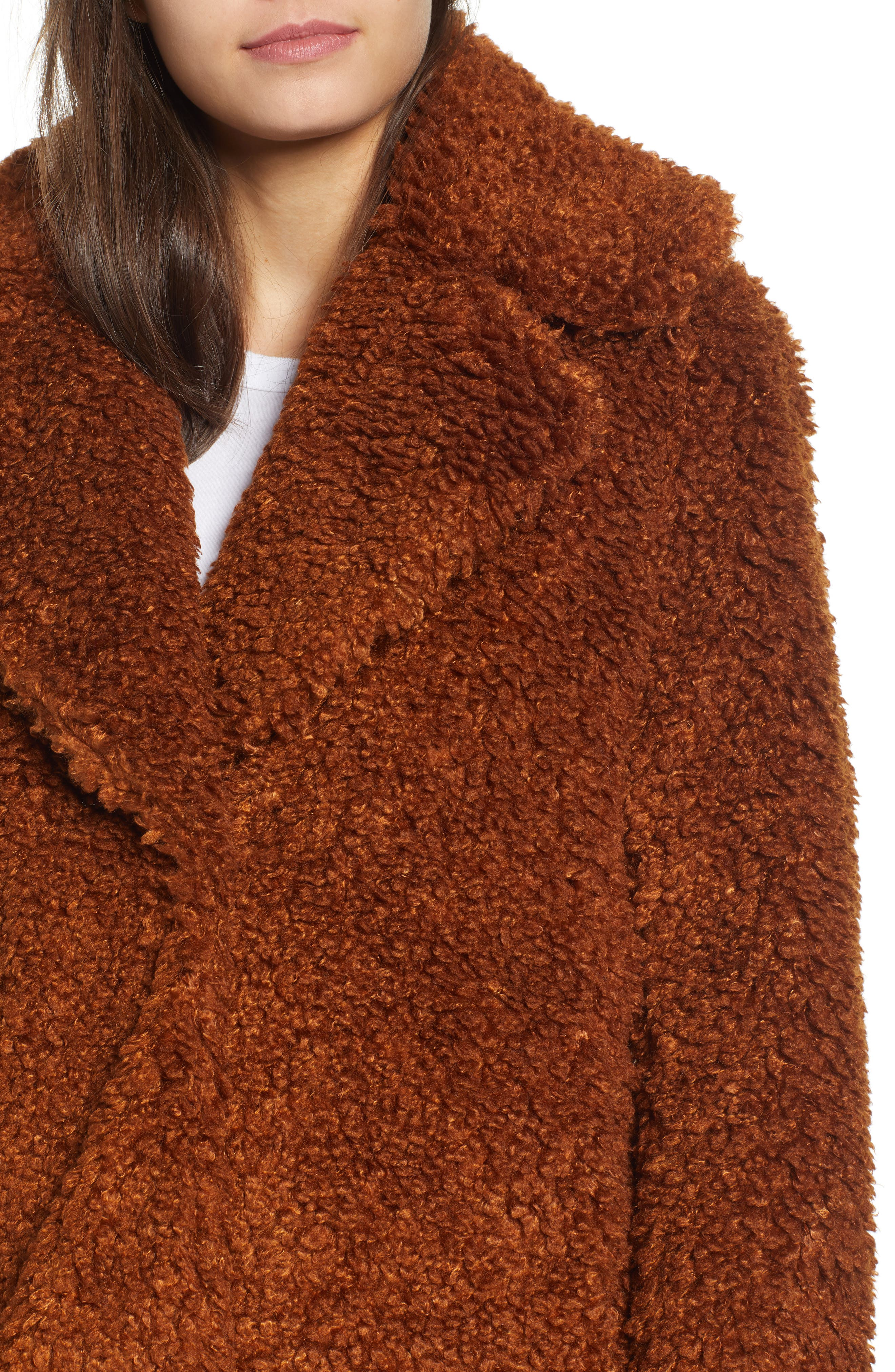 Faux Shearling Coat,                             Alternate thumbnail 4, color,                             RUST
