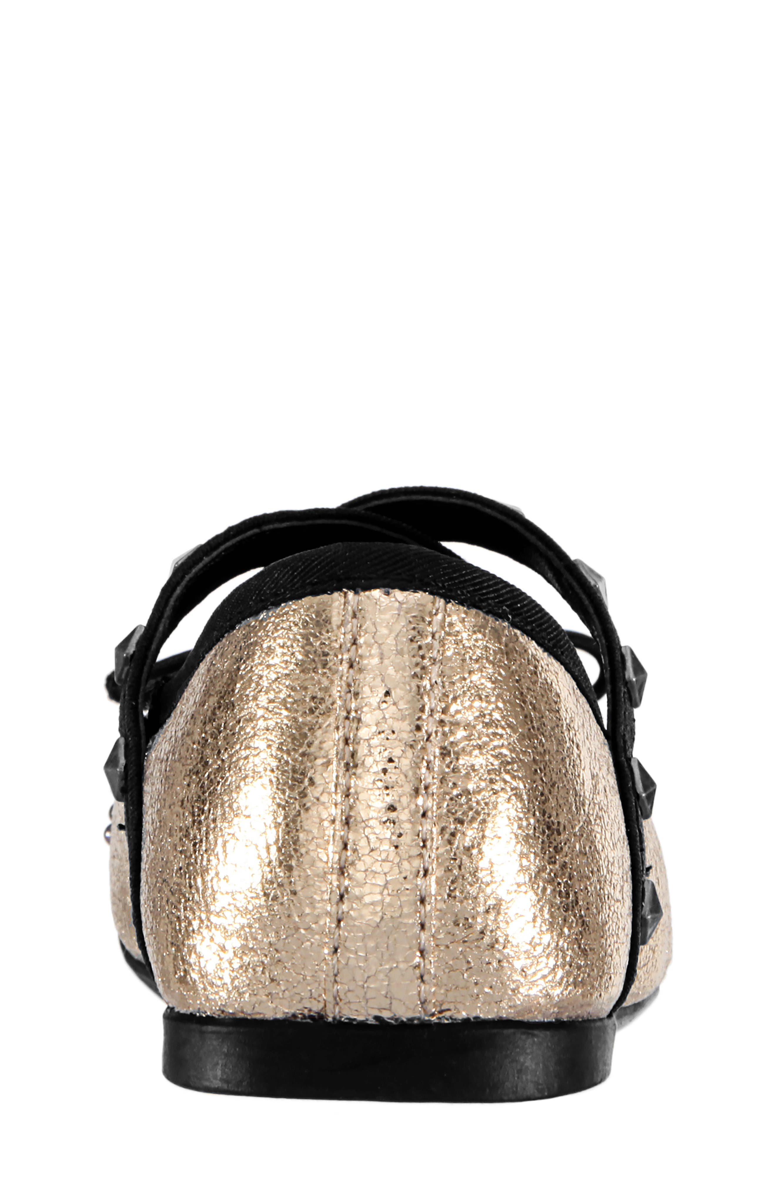 Averi Studded Ballet Flat,                             Alternate thumbnail 7, color,                             GOLD CRACKLE METALLIC