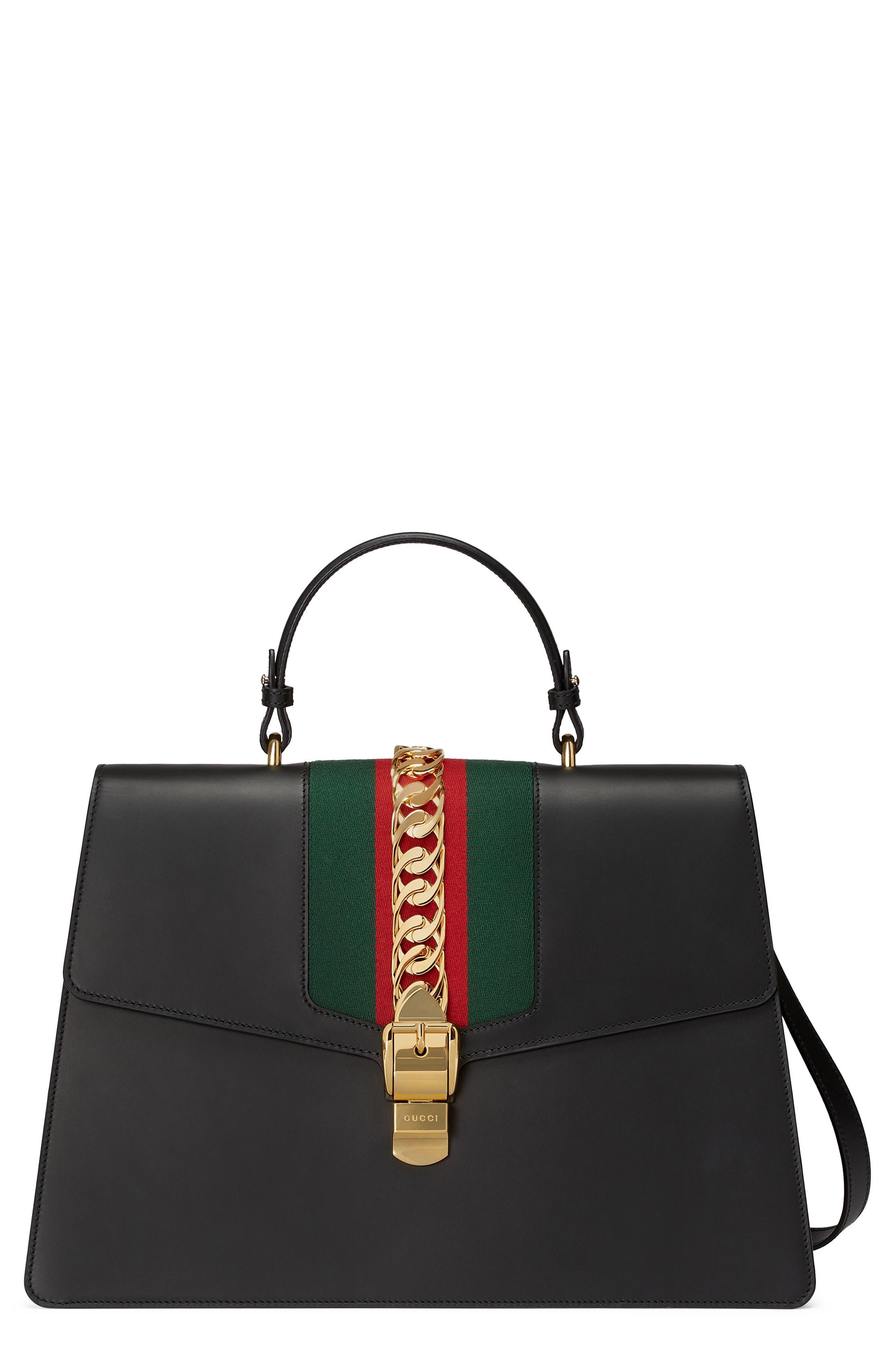 Maxi Sylvie Top Handle Leather Shoulder Bag,                         Main,                         color, NERO/ VERT RED
