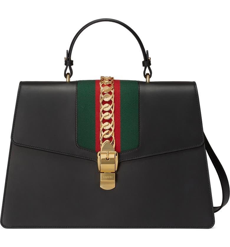 e61e6be1c135 GUCCI Maxi Sylvie Top Handle Leather Shoulder Bag, Main, color, NERO/ VERT