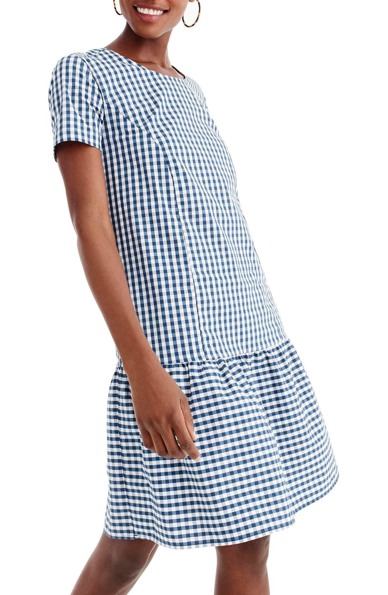 1920s Plus Size Flapper Dresses, Gatsby Dresses, Flapper Costumes Womens Universal Standard For J.crew Drop Waist Poplin Dress $53.98 AT vintagedancer.com