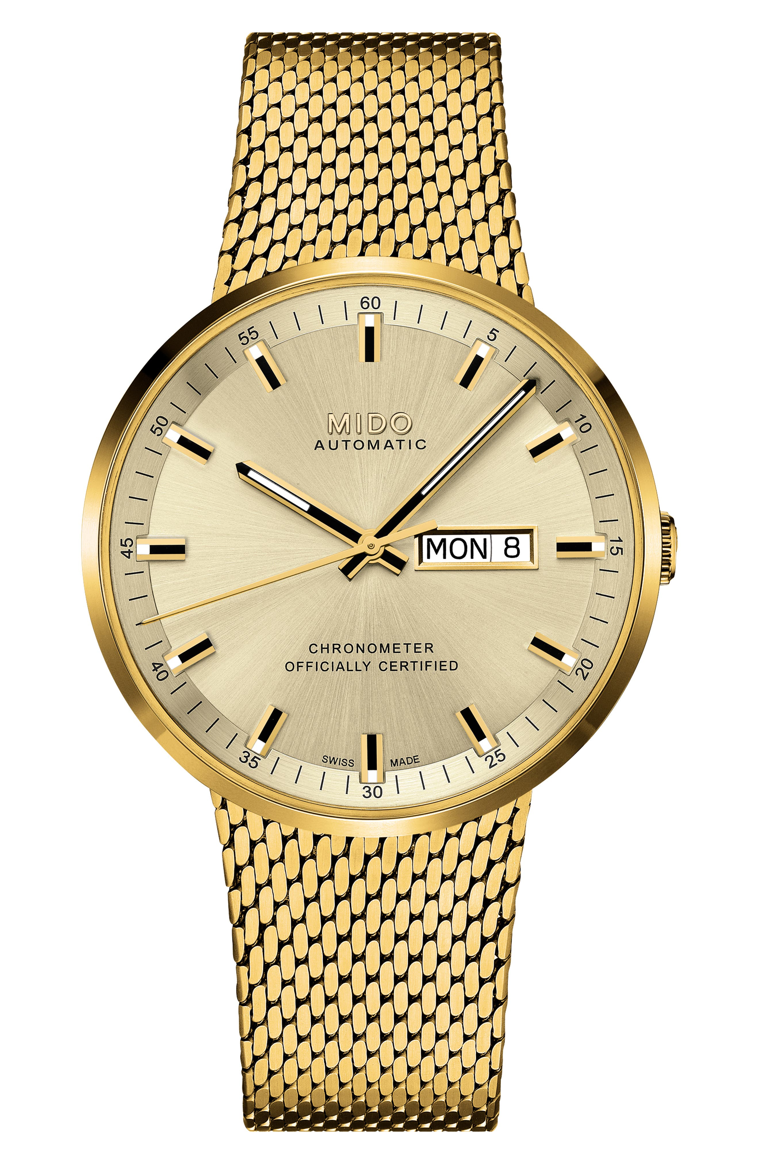 Commander II Stainless Steel Strap Watch,                             Main thumbnail 1, color,                             ROSE GOLD/ YELLOW/ SILVER