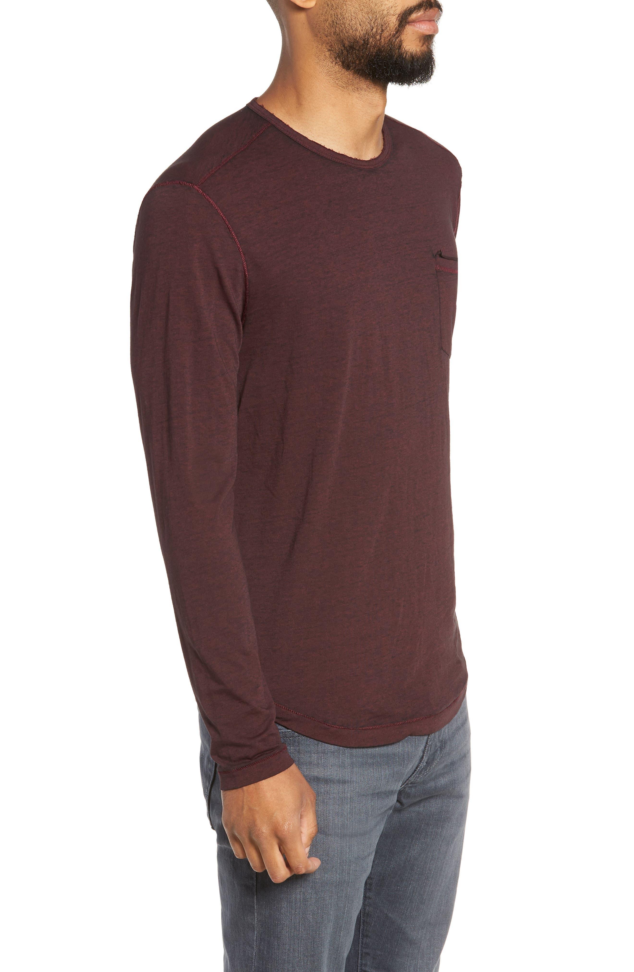 Burnout Long Sleeve T-Shirt,                             Alternate thumbnail 3, color,                             BORDEAUX