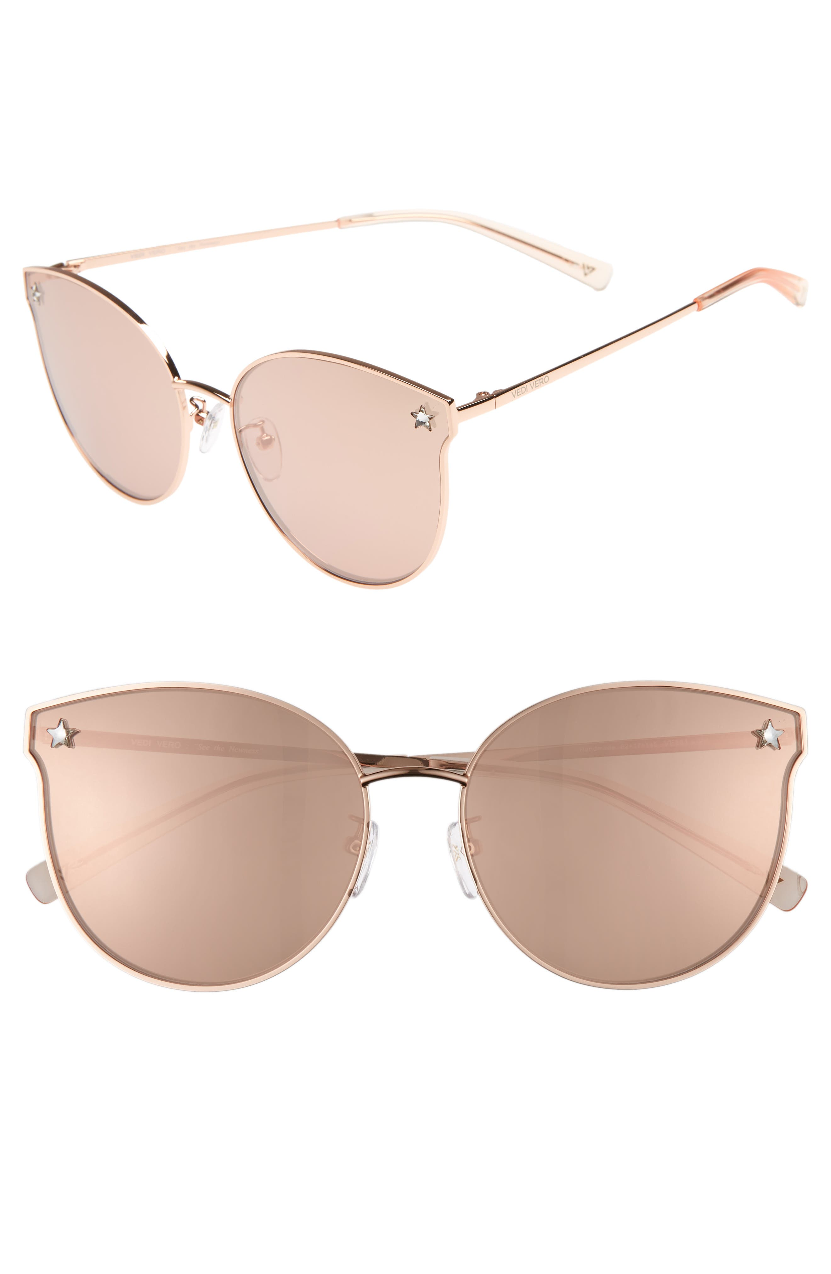VEDI VERO 62Mm Oversize Round Cat Eye Sunglasses - Shiny Rose Gold