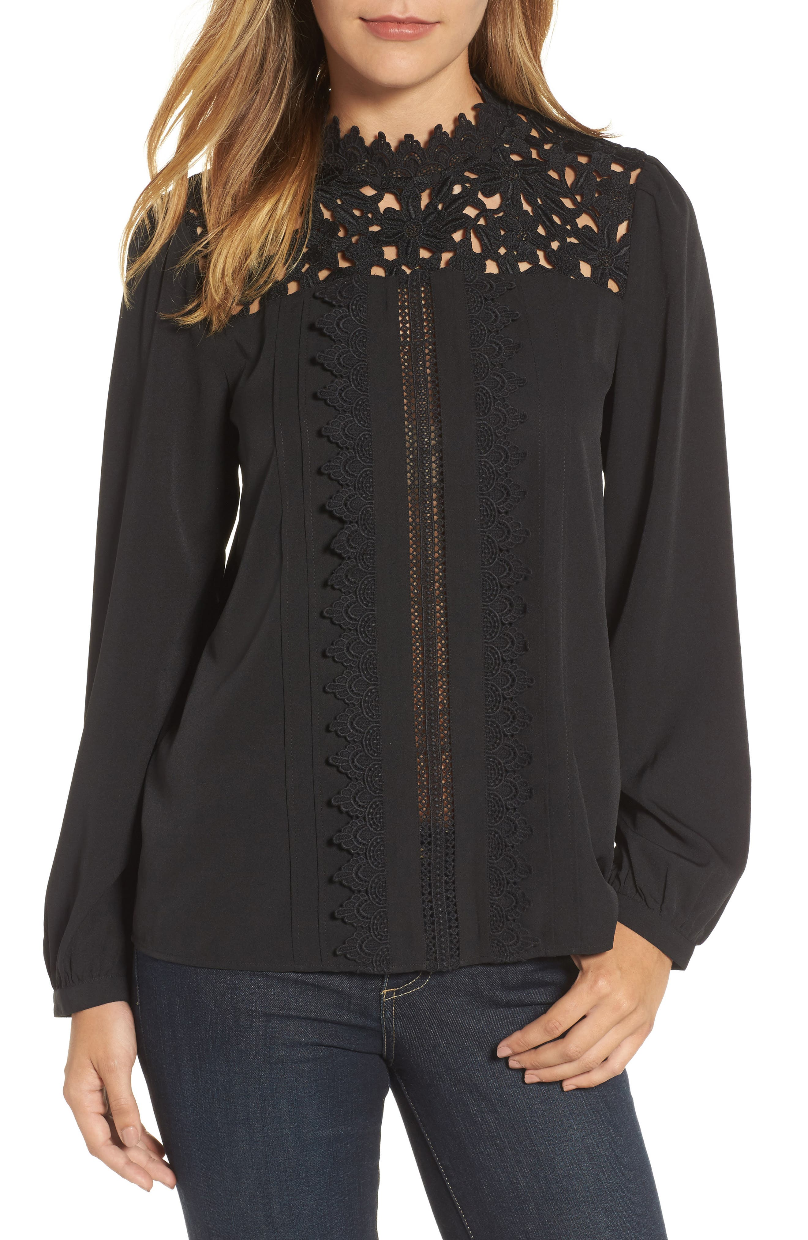 Lace Yoke Blouse,                         Main,                         color, 001