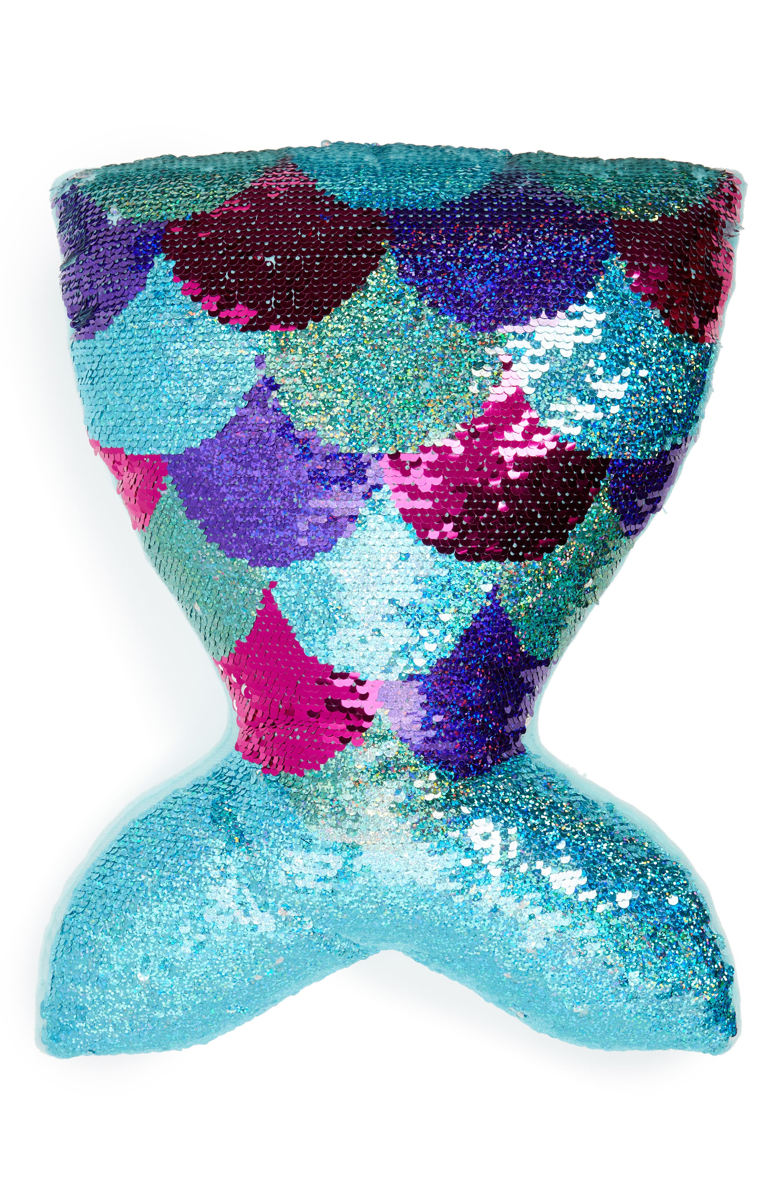 Mermazing Flip Sequin Accent Pillow,                             Main thumbnail 1, color,                             SILVER/ TURQUOISE