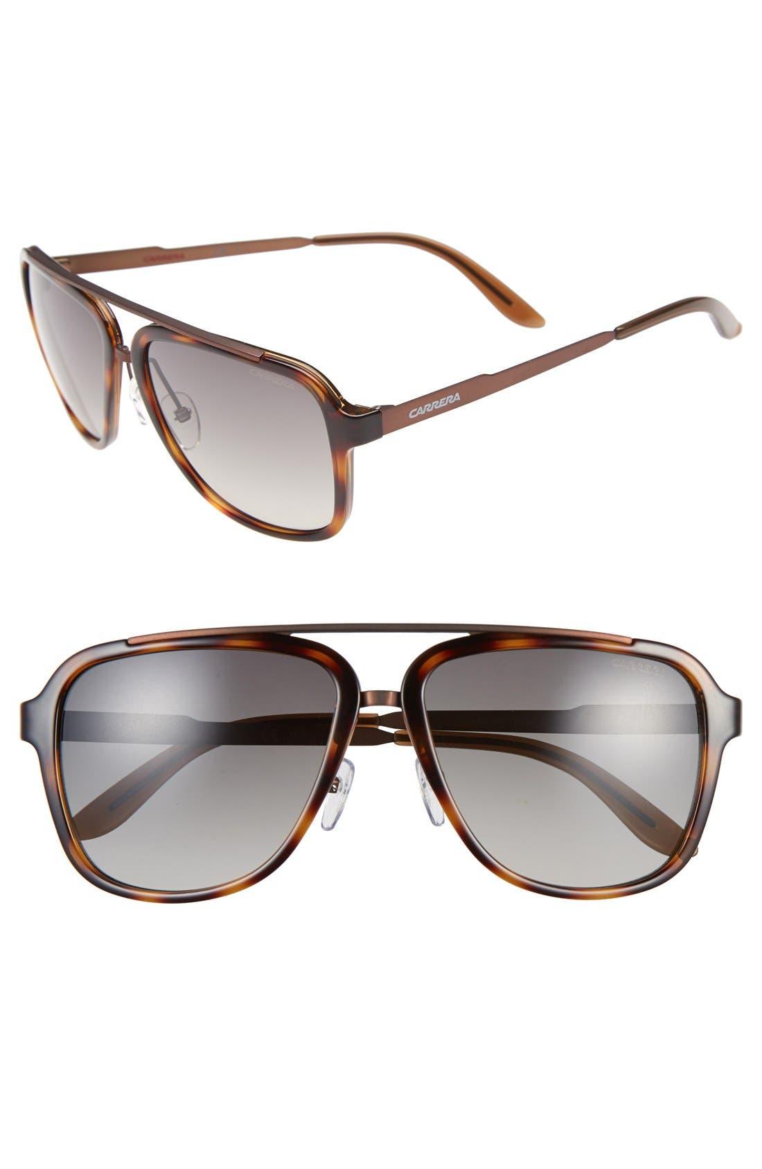 57mm Navigator Sunglasses,                         Main,                         color, HAVANA BROWN BROWN GRADIENT