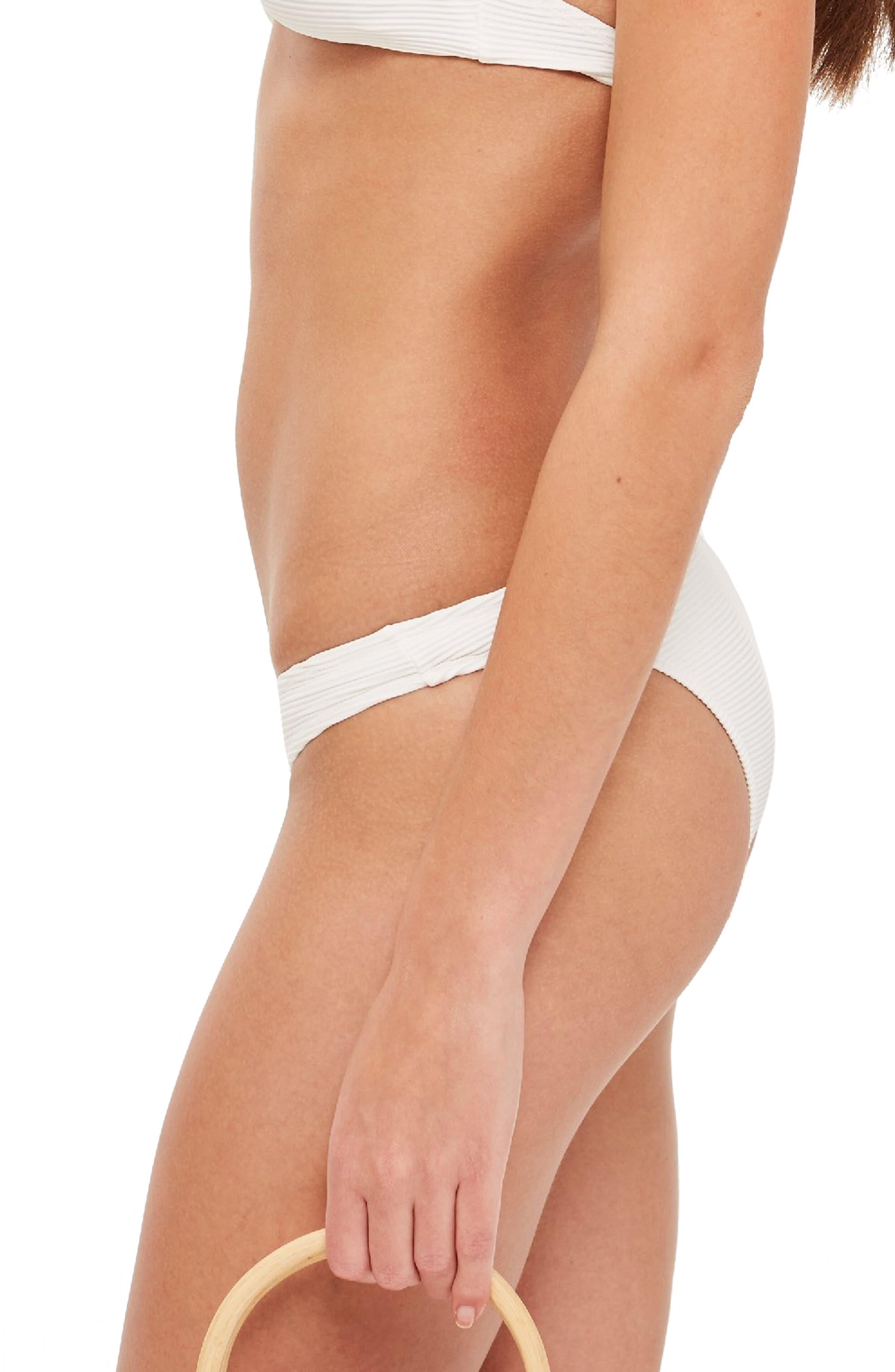 Ribbed Ring Bikini Bottoms,                             Alternate thumbnail 3, color,                             WHITE