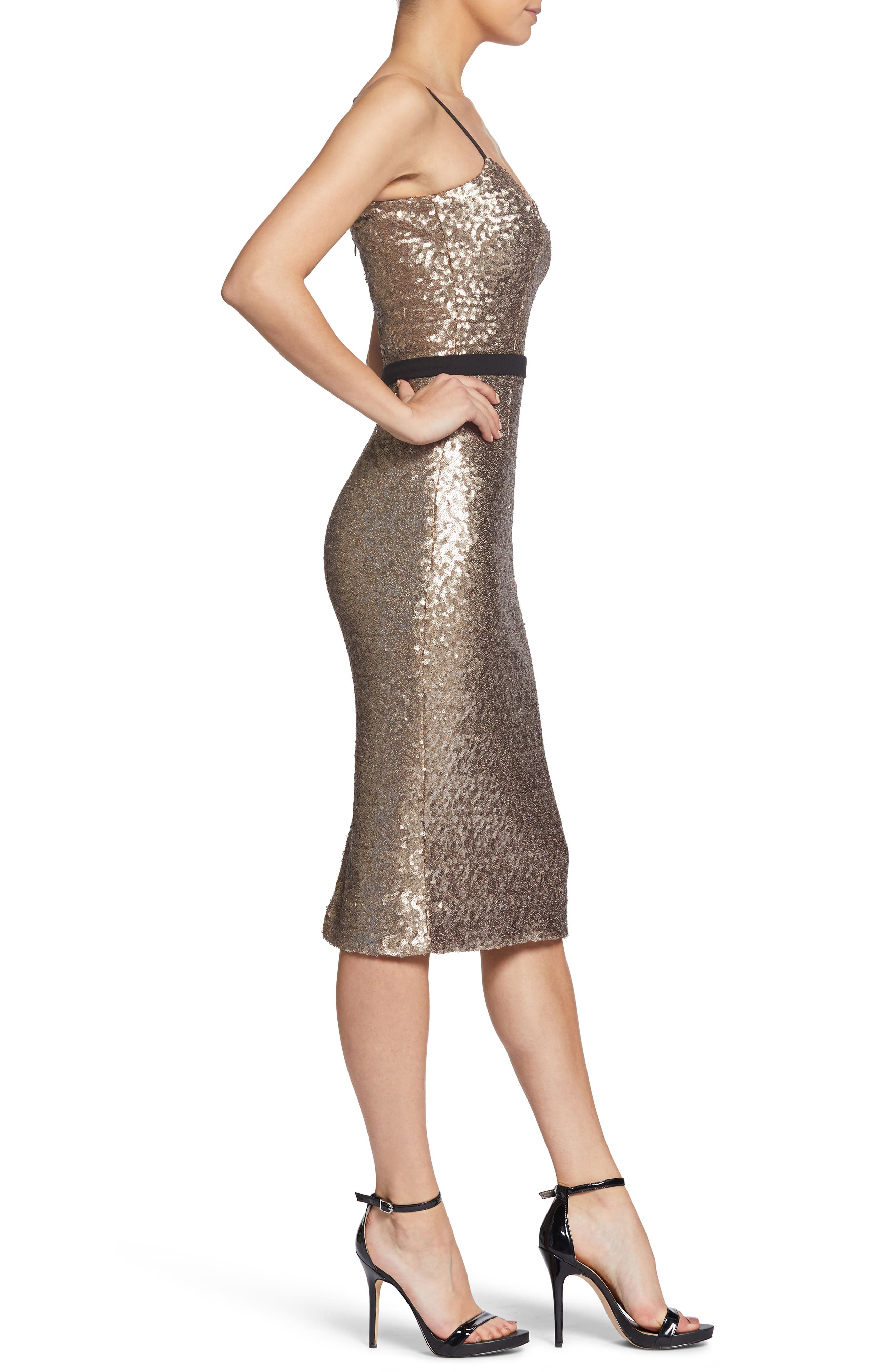 Emma Sequin Body-Con Dress,                             Alternate thumbnail 3, color,                             717