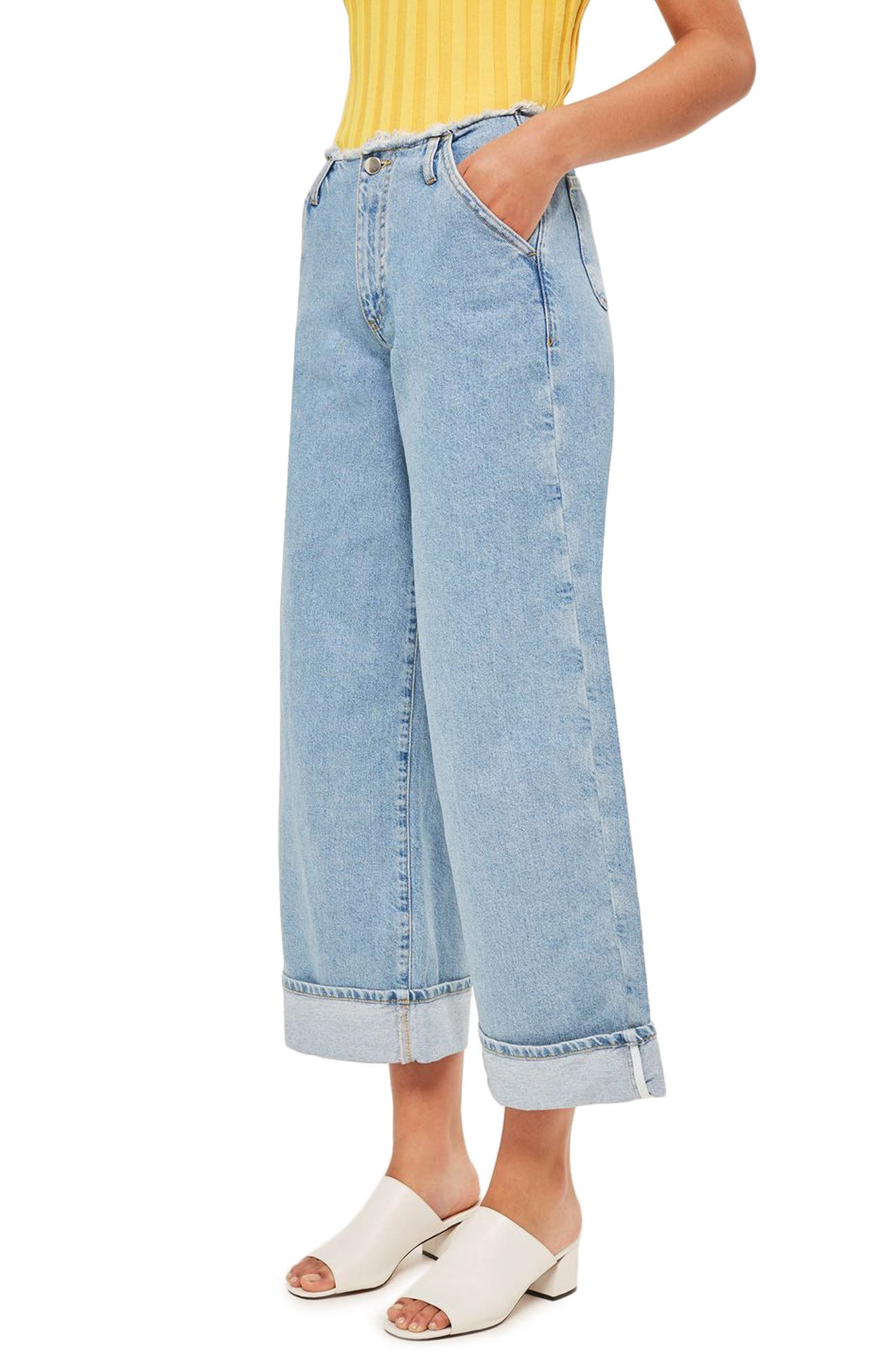 Frayed Waist Super Wide Leg Jeans,                             Alternate thumbnail 3, color,                             400