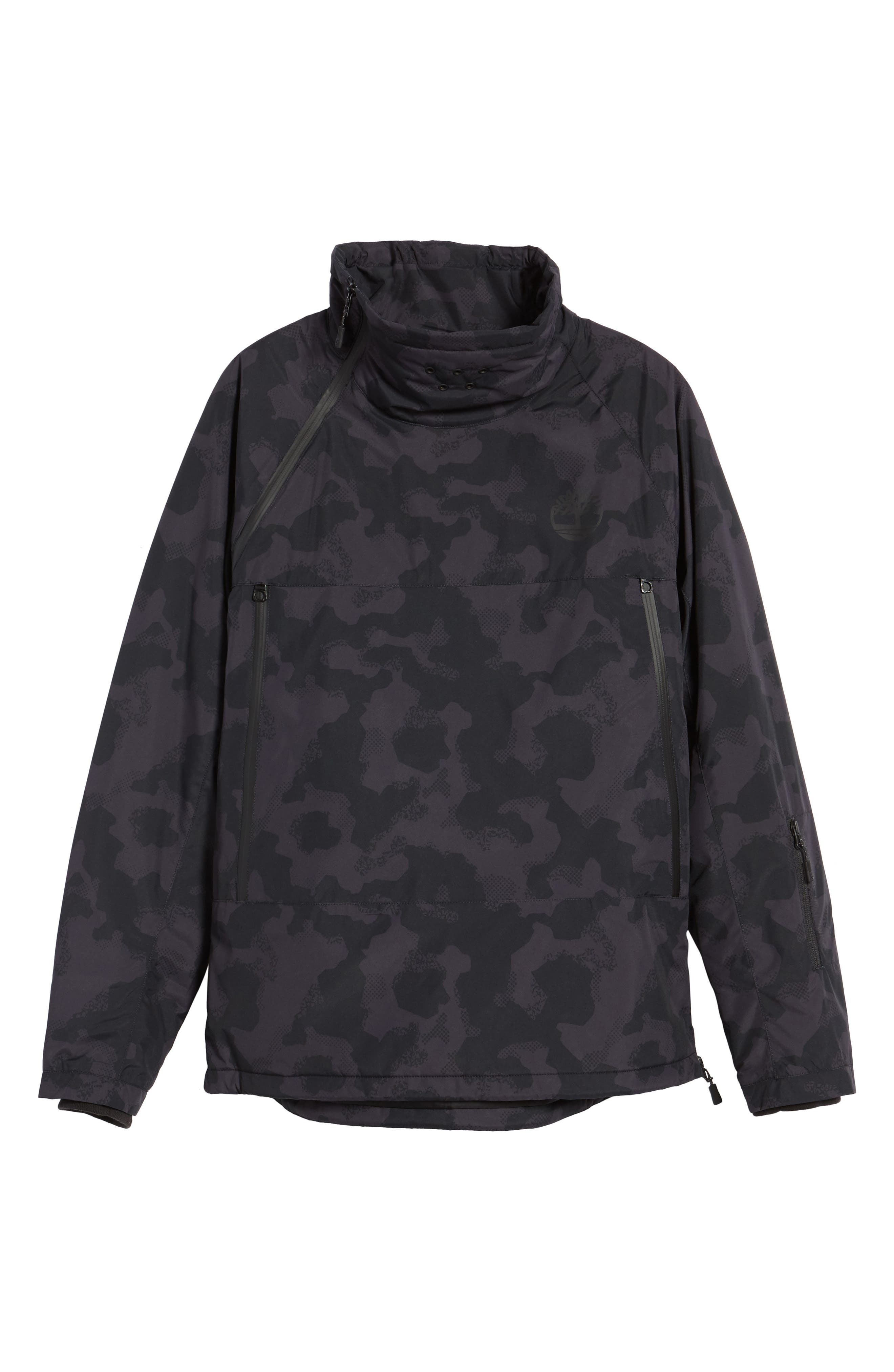 Asymmetrical Water-Repellent Funnel Neck Pullover,                             Alternate thumbnail 5, color,                             001