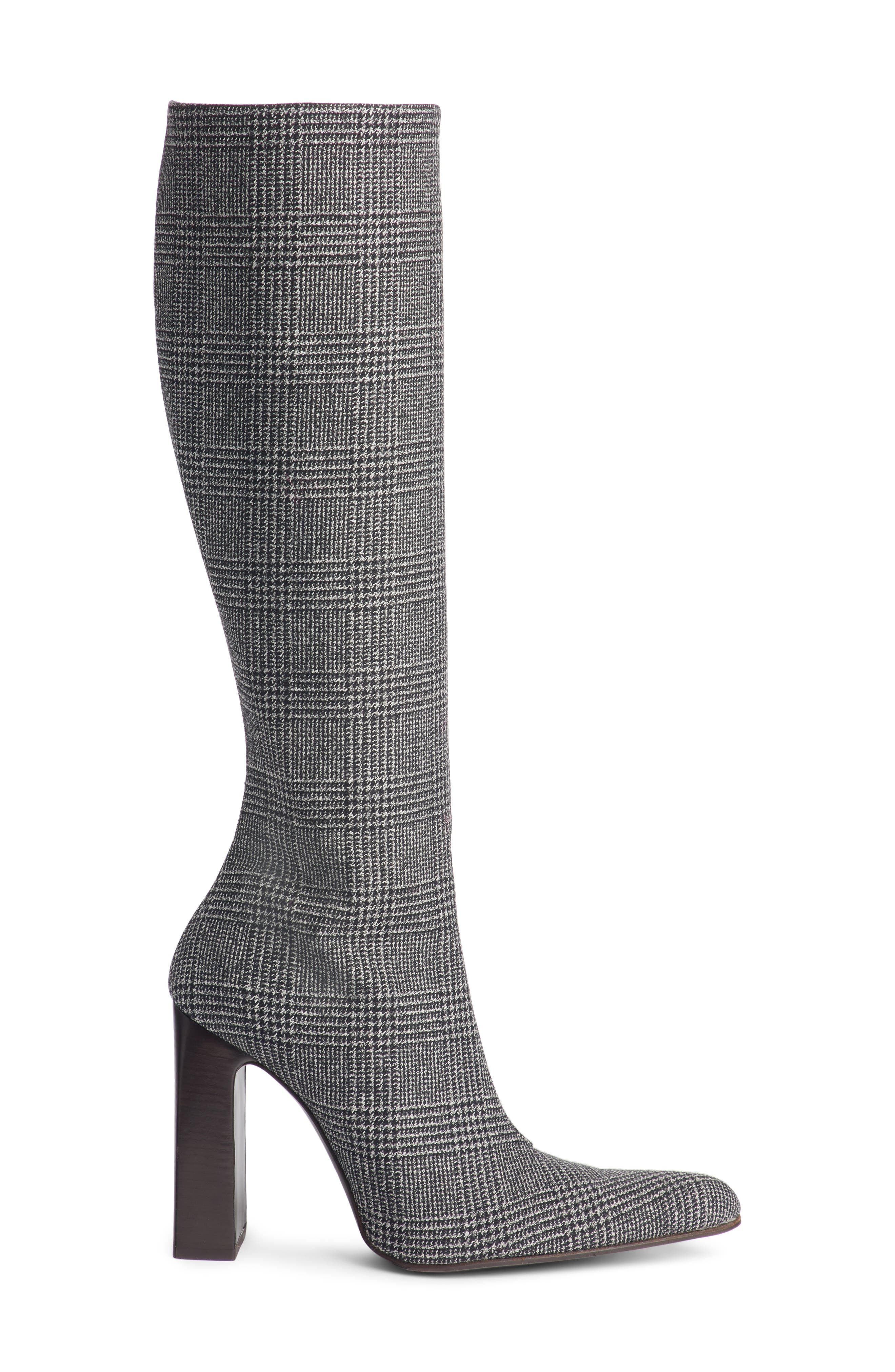 Prince of Wales Knee High Boot,                             Alternate thumbnail 3, color,                             GREY