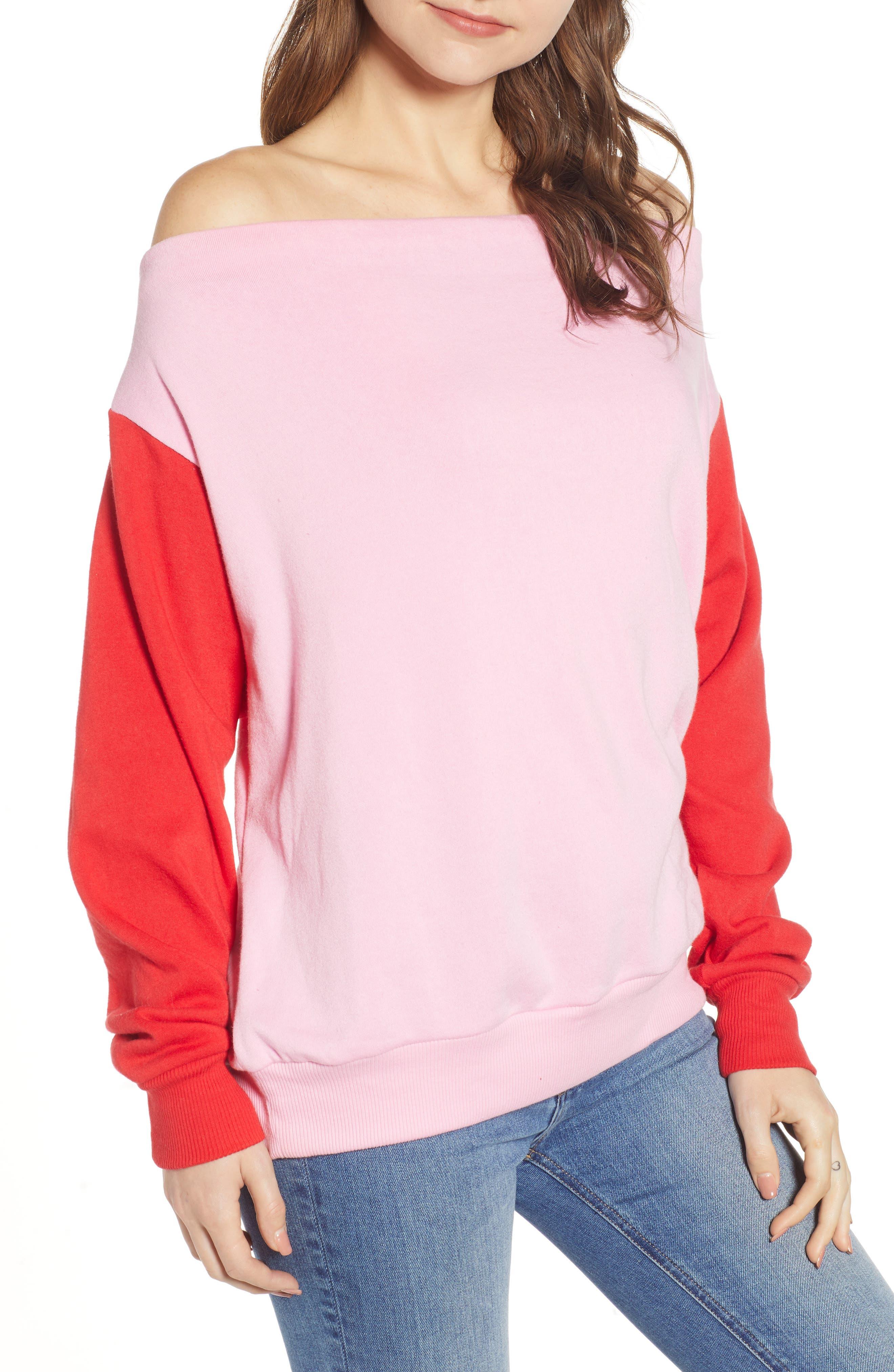Colorblock Fleece Sweatshirt,                             Main thumbnail 1, color,                             PINK PRISM