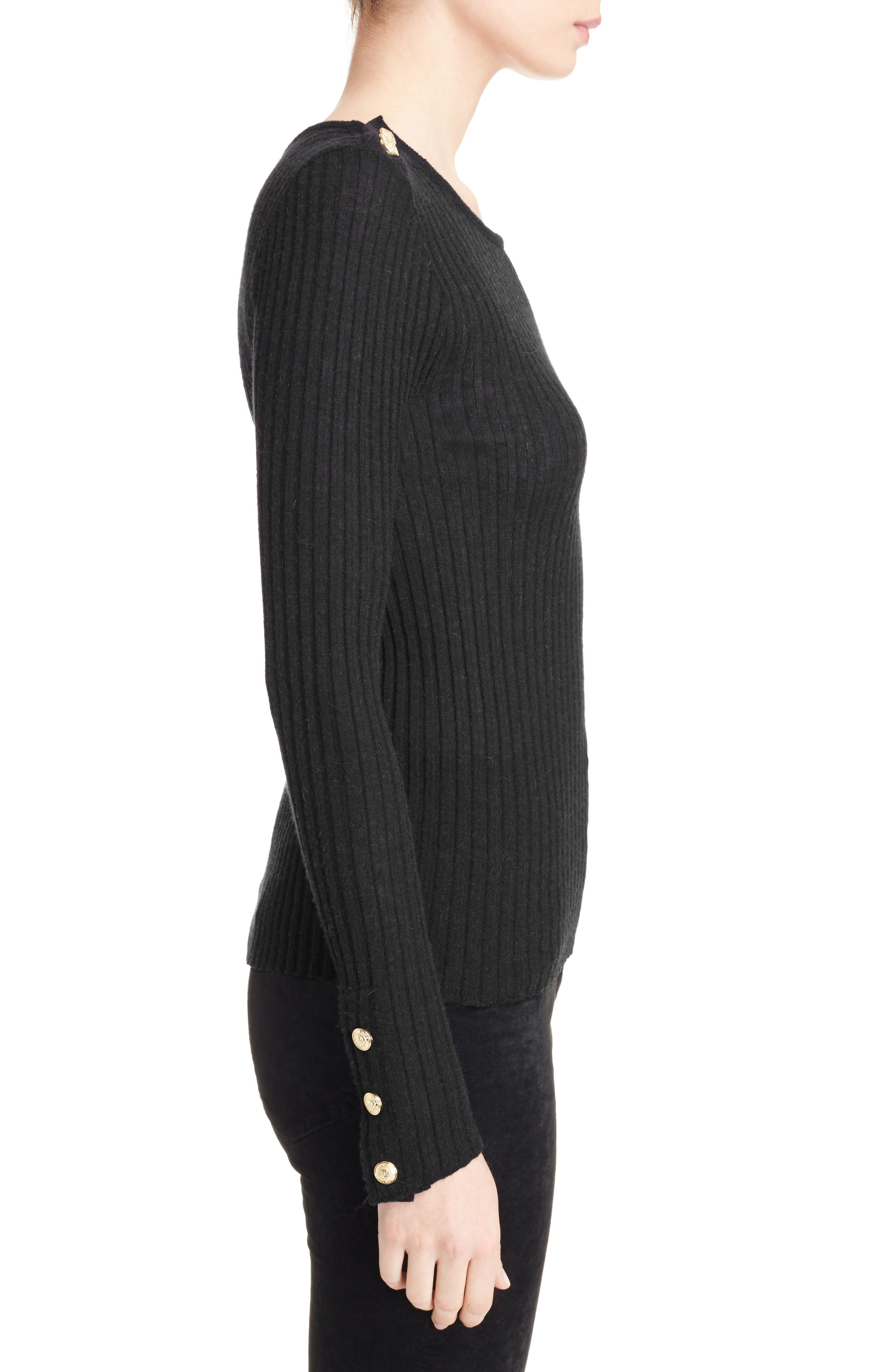Button Detail Ribbed Sweater,                             Alternate thumbnail 3, color,                             BLACK
