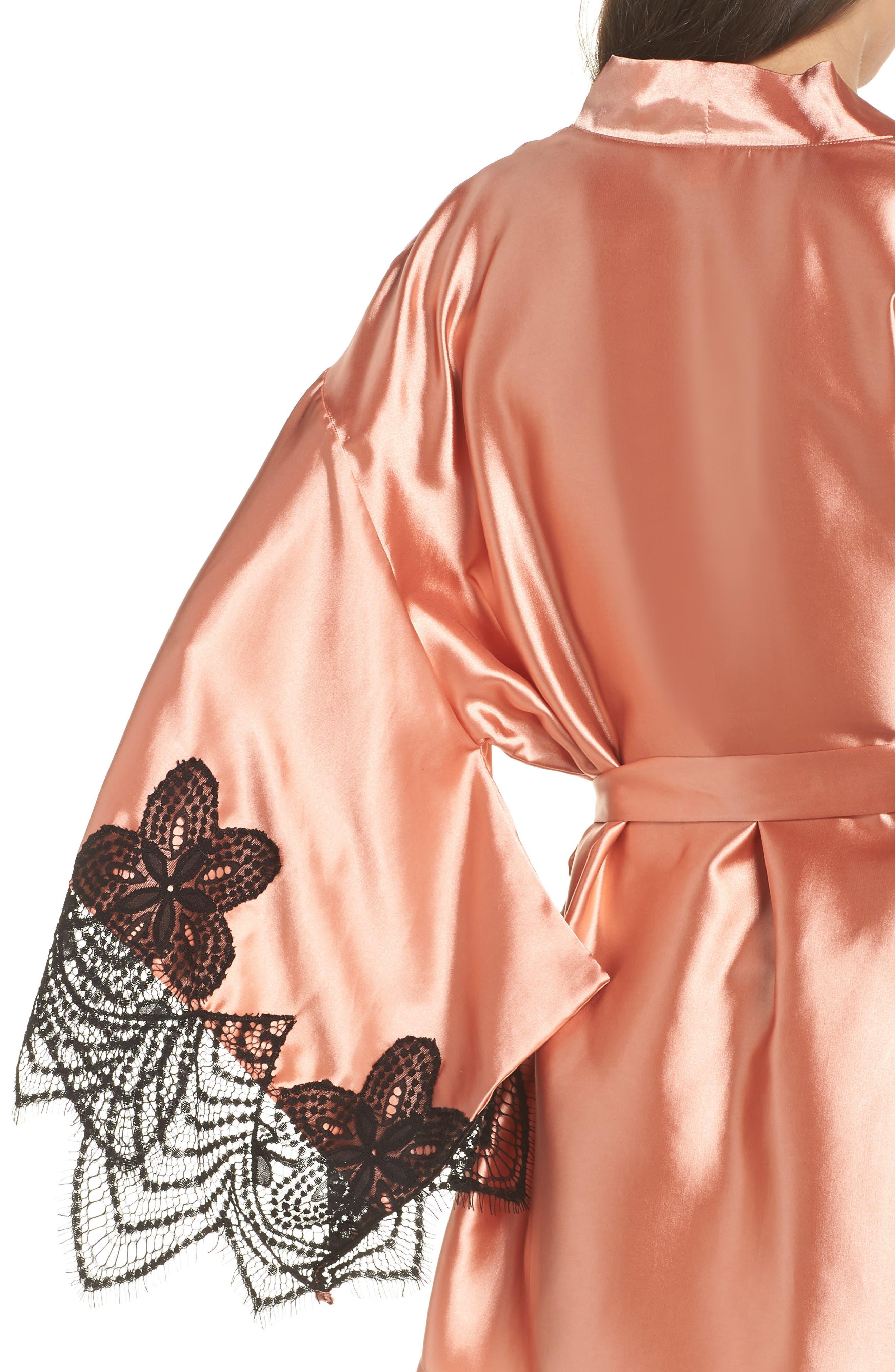 Drama Lace Trim Satin Robe,                             Alternate thumbnail 4, color,                             CAMEO BROWN/ BLACK