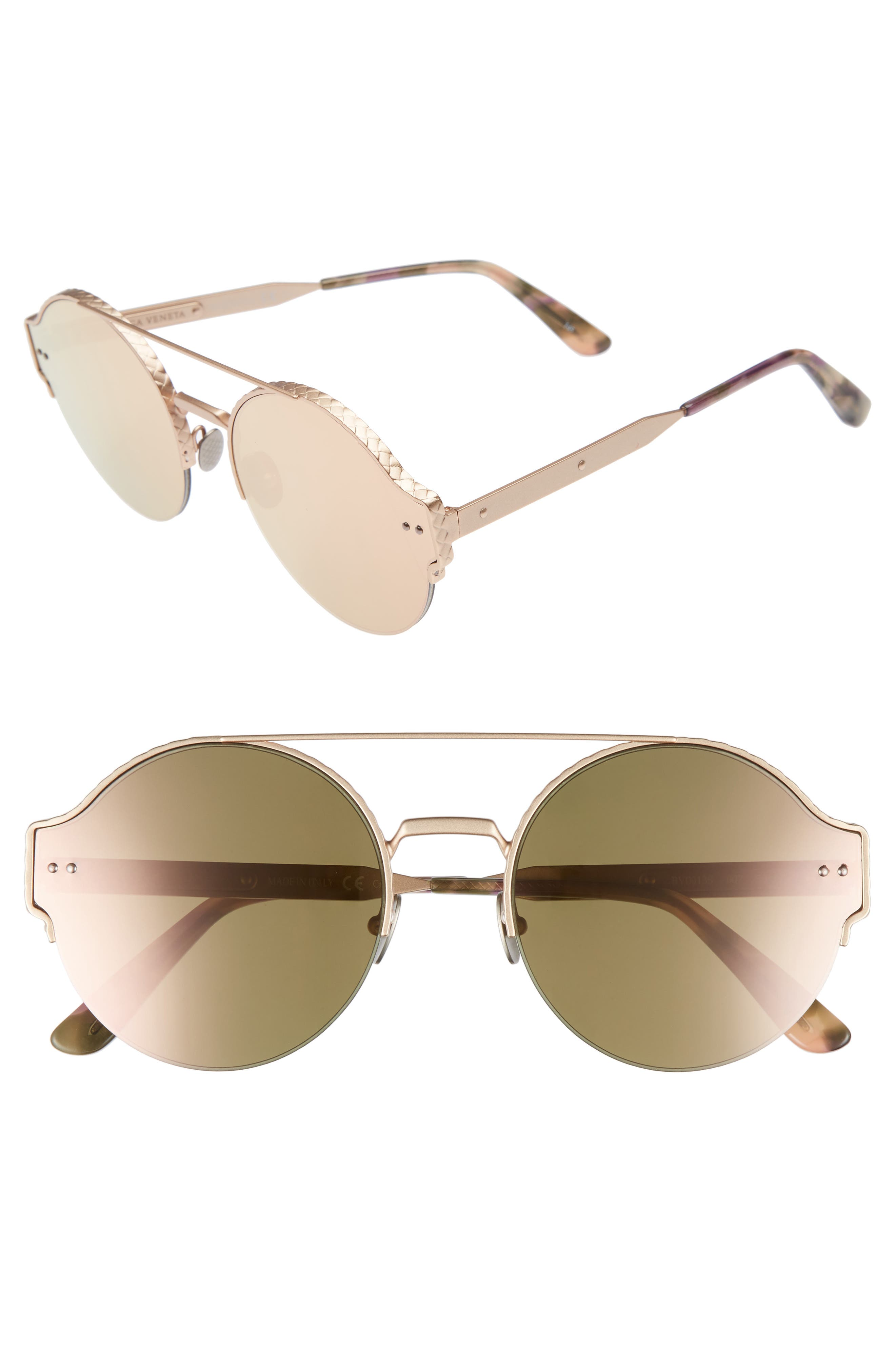 54mm Round Semi-Rimless Sunglasses,                             Main thumbnail 3, color,