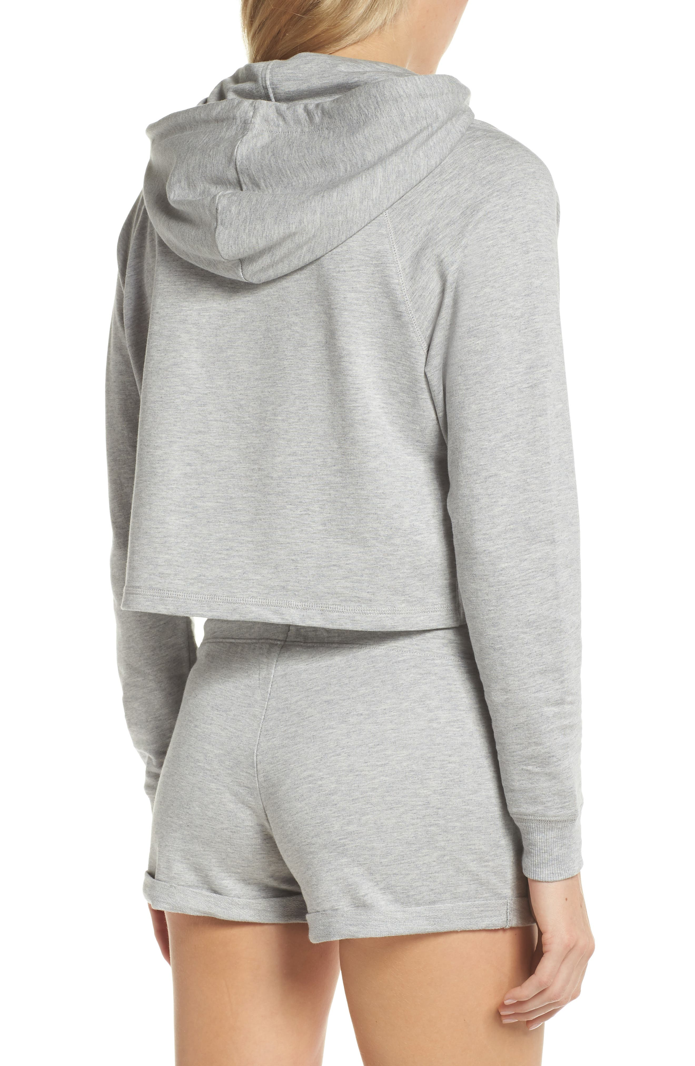 French Terry Crop Hoodie,                             Alternate thumbnail 4, color,