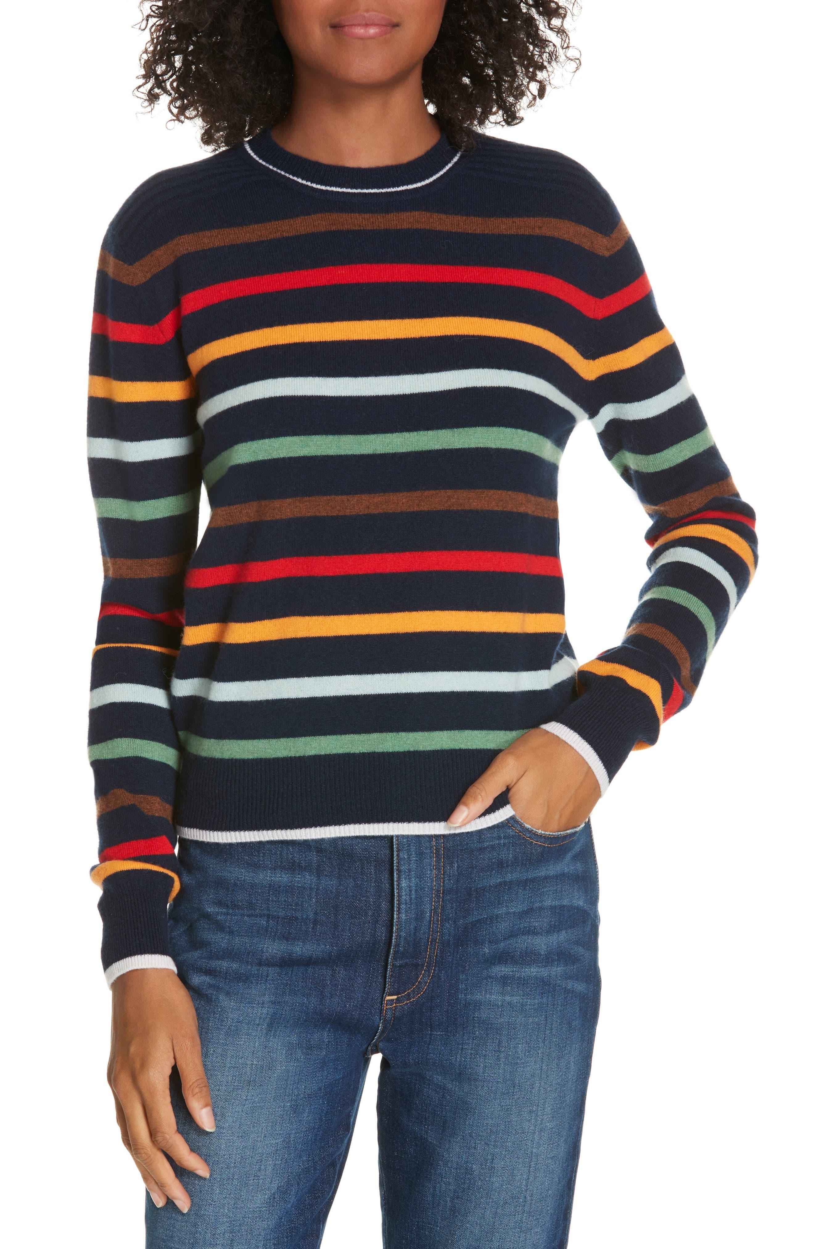 Rainbow Neat Wool & Cashmere Sweater,                             Main thumbnail 1, color,                             NAVY/ RAINBOW