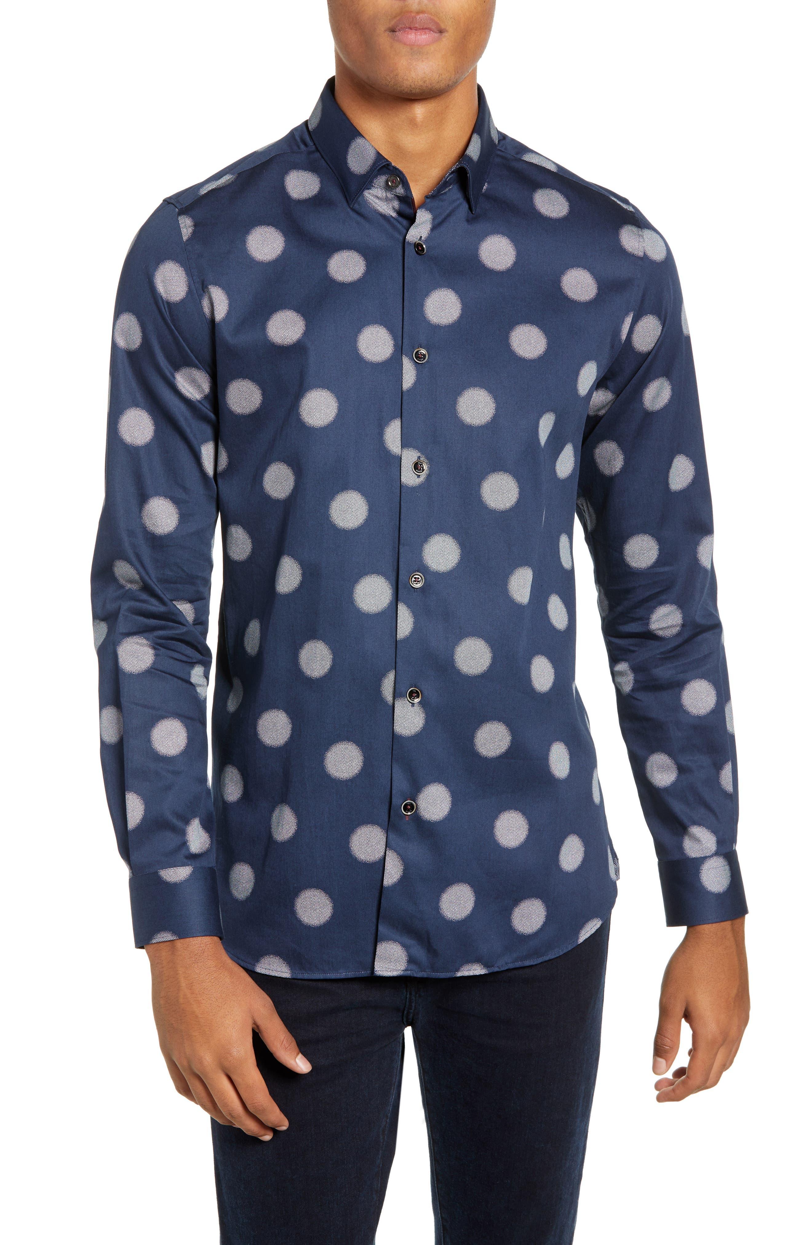Cerious Slim Fit Circle Dot Sport Shirt,                         Main,                         color, NAVY