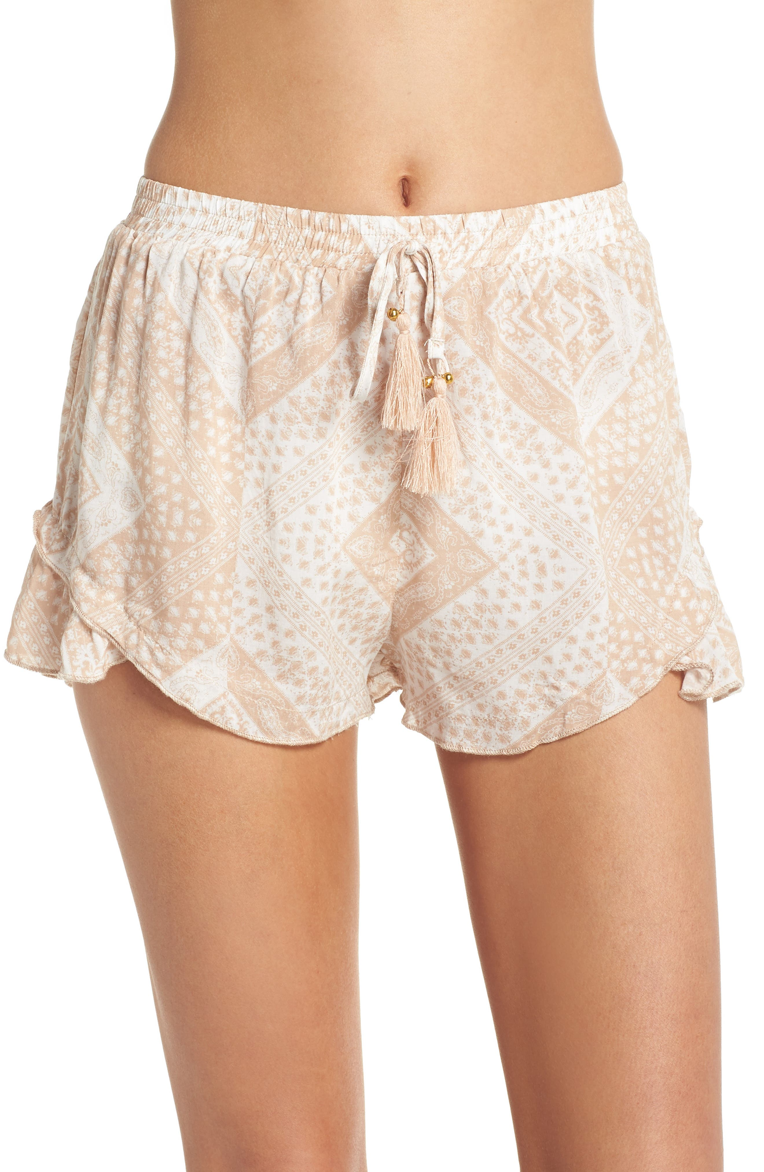 Tassel Trim Cover-Up Shorts,                         Main,                         color, TAN SCARF