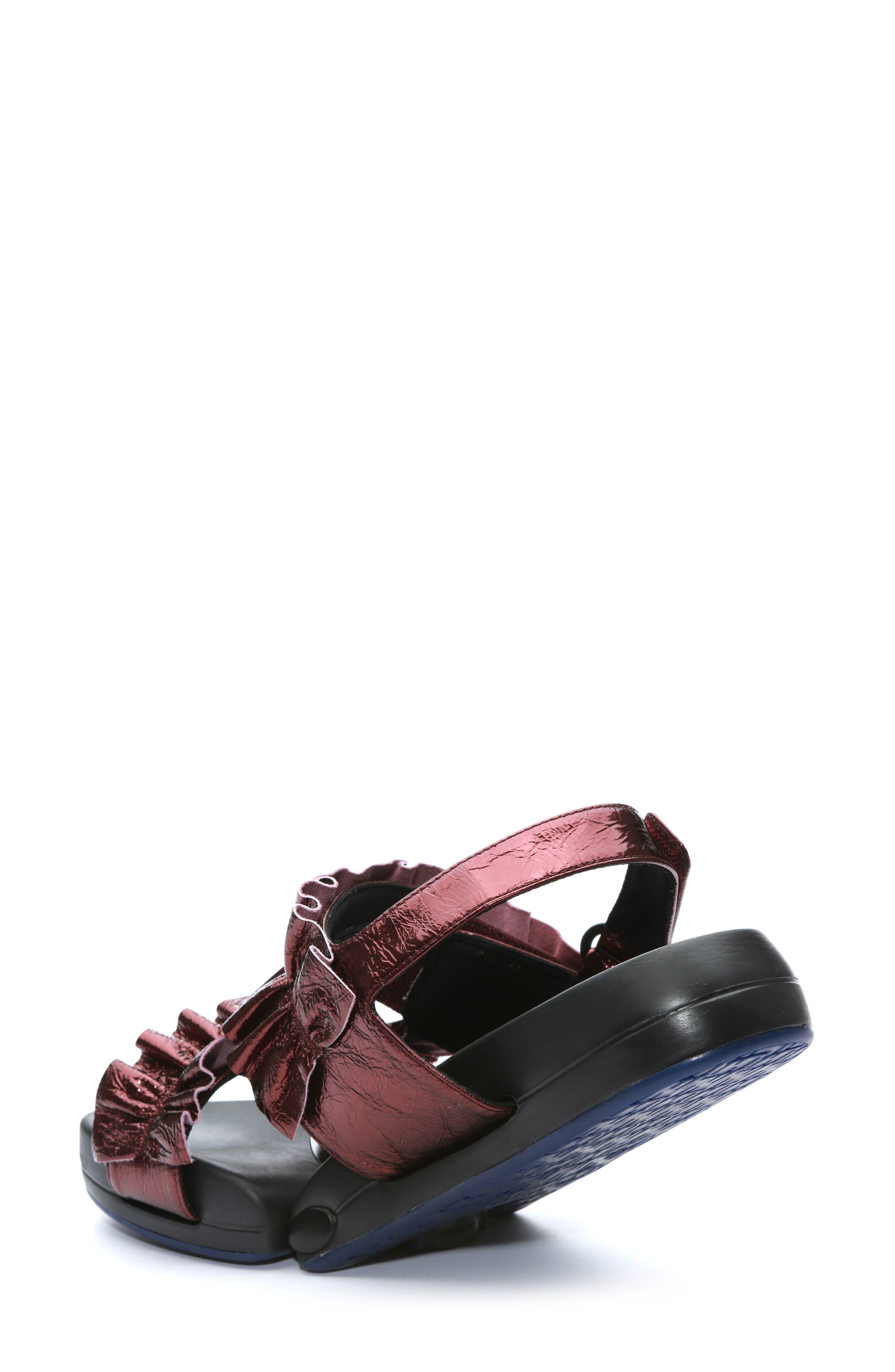 Figulous Ruffle Sandal,                             Alternate thumbnail 2, color,                             BORDEAUX METALLIC LEATHER