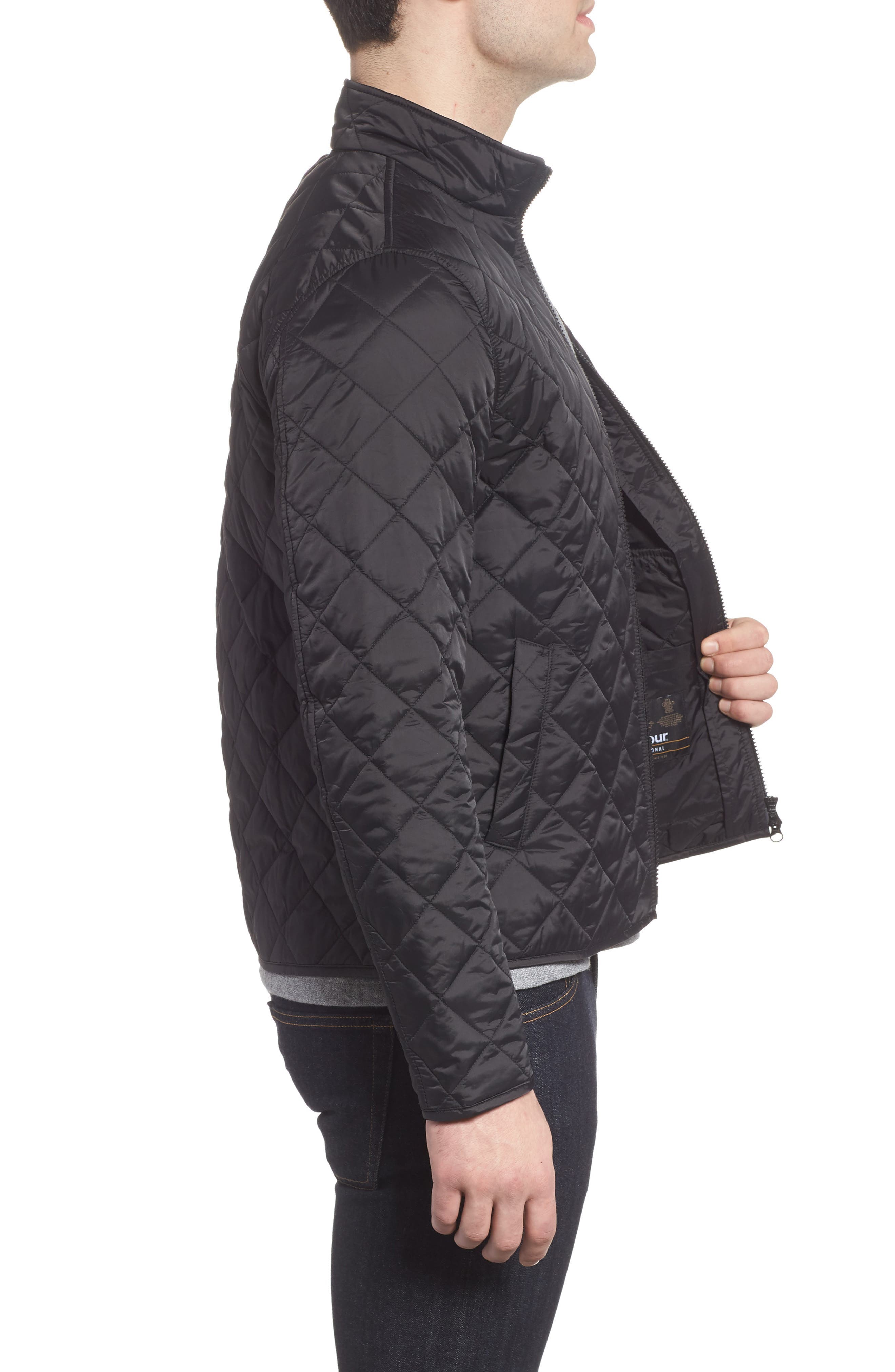 BARBOUR,                             Gear Quilted Jacket,                             Alternate thumbnail 3, color,                             BLACK
