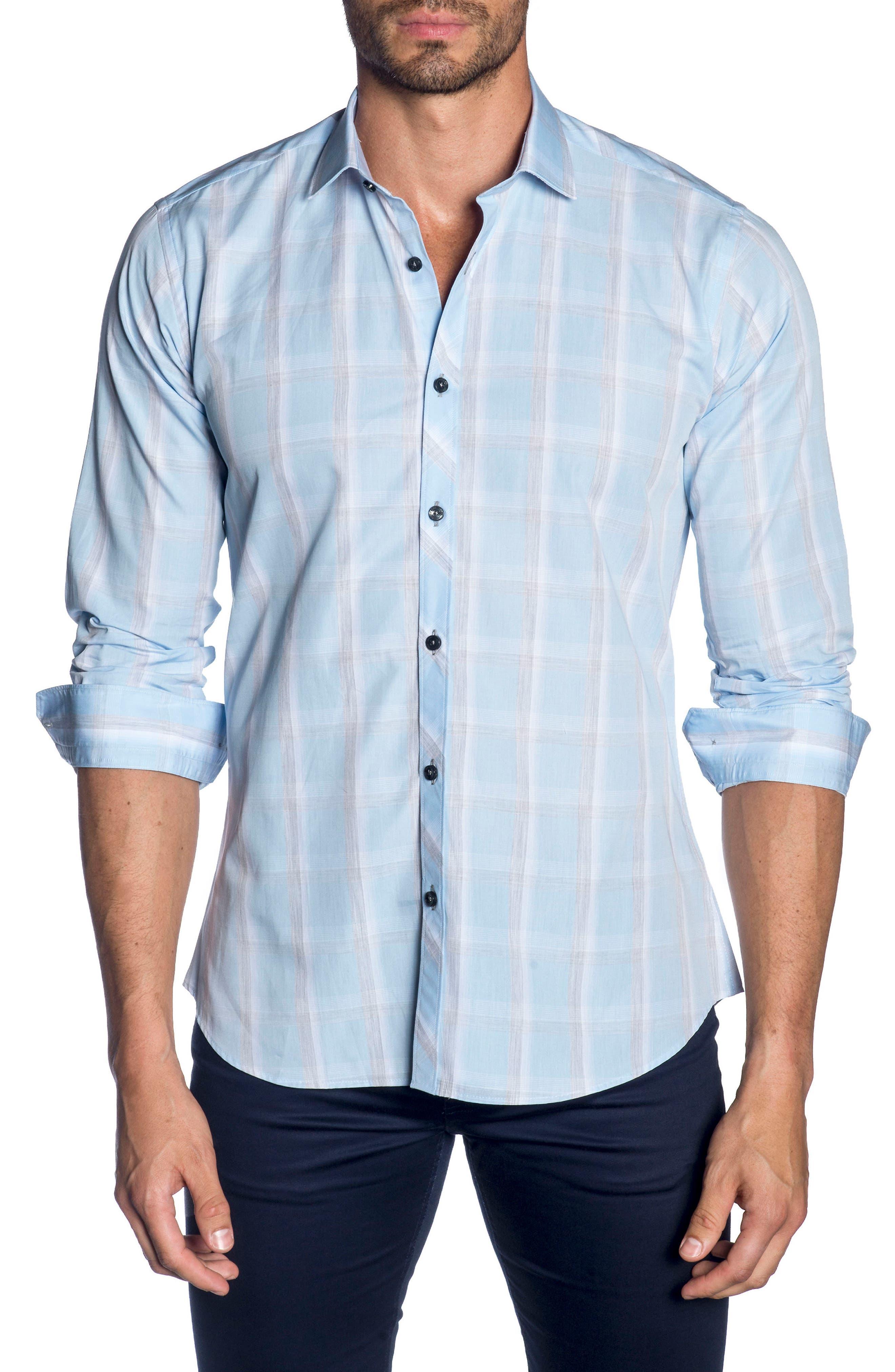 Trim Fit Sport Shirt,                         Main,                         color, SKY BLUE GREY CHECK