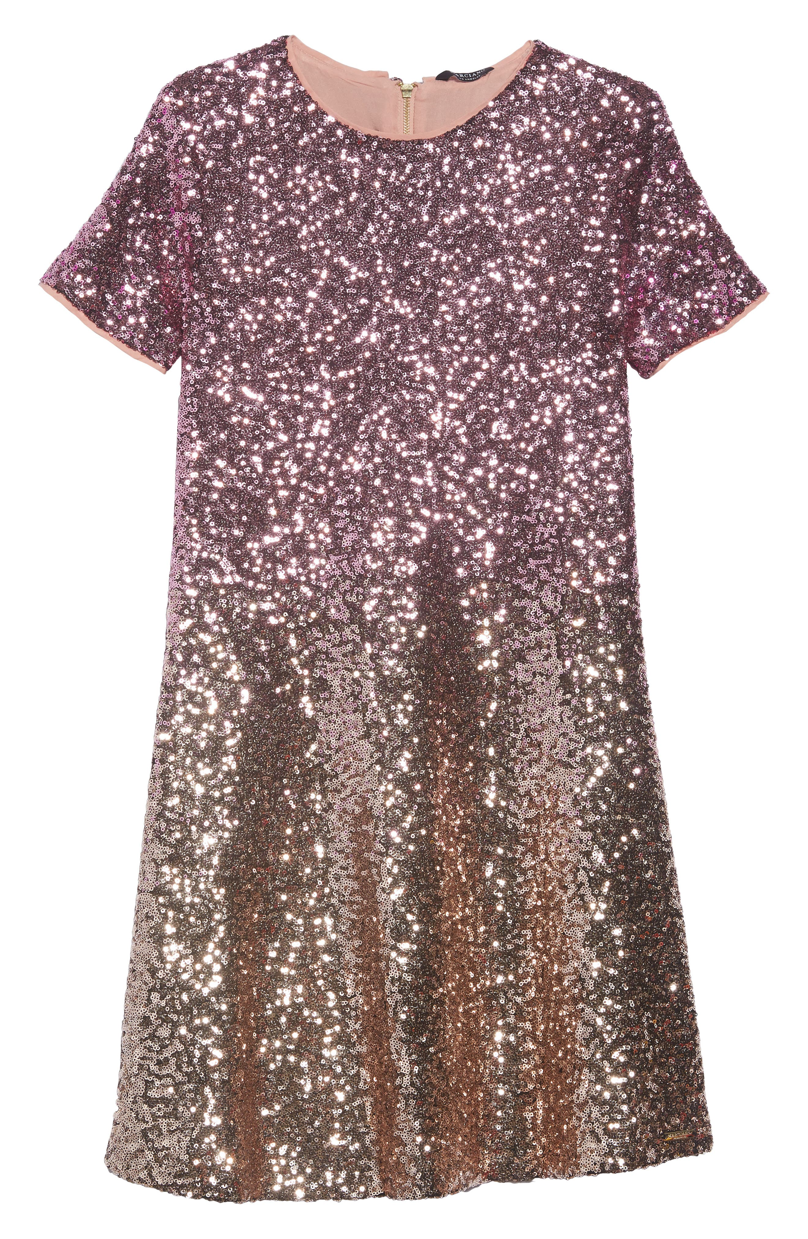 Ombré Sequin Skater Dress,                             Main thumbnail 1, color,                             710