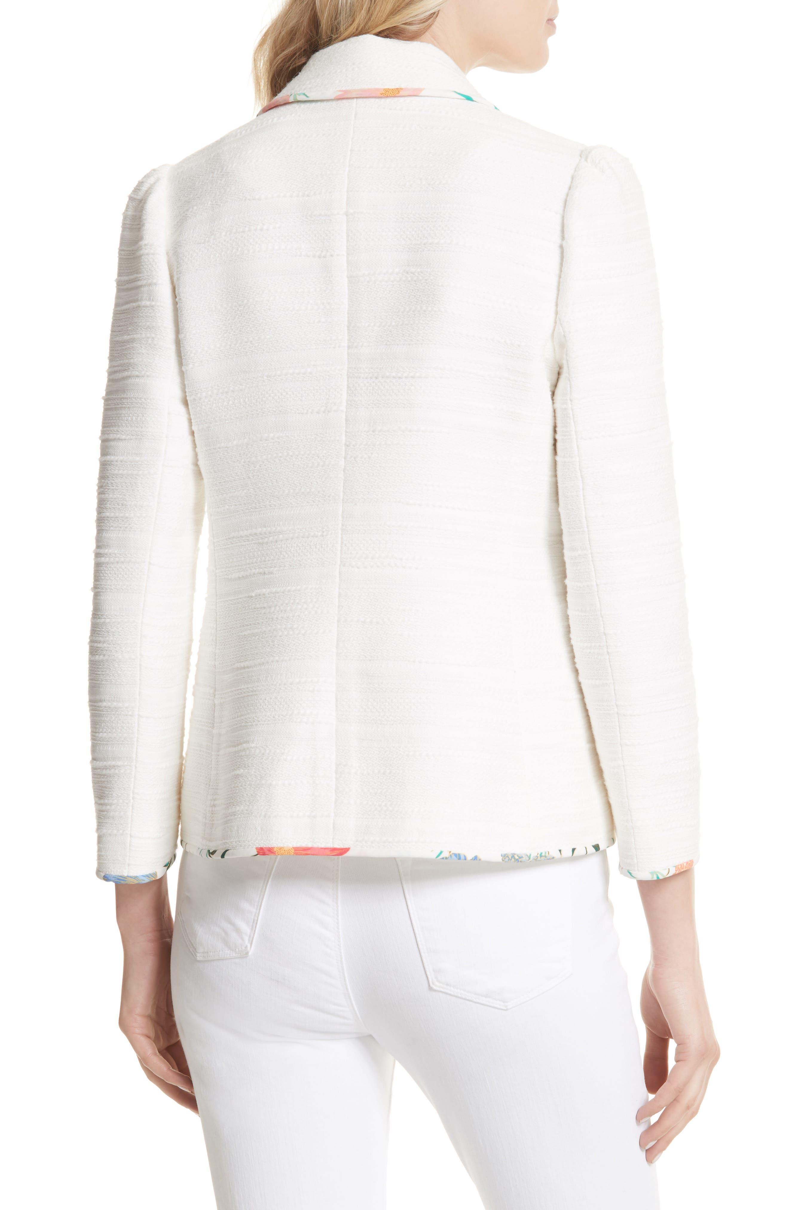 blossom trim tweed jacket,                             Alternate thumbnail 4, color,