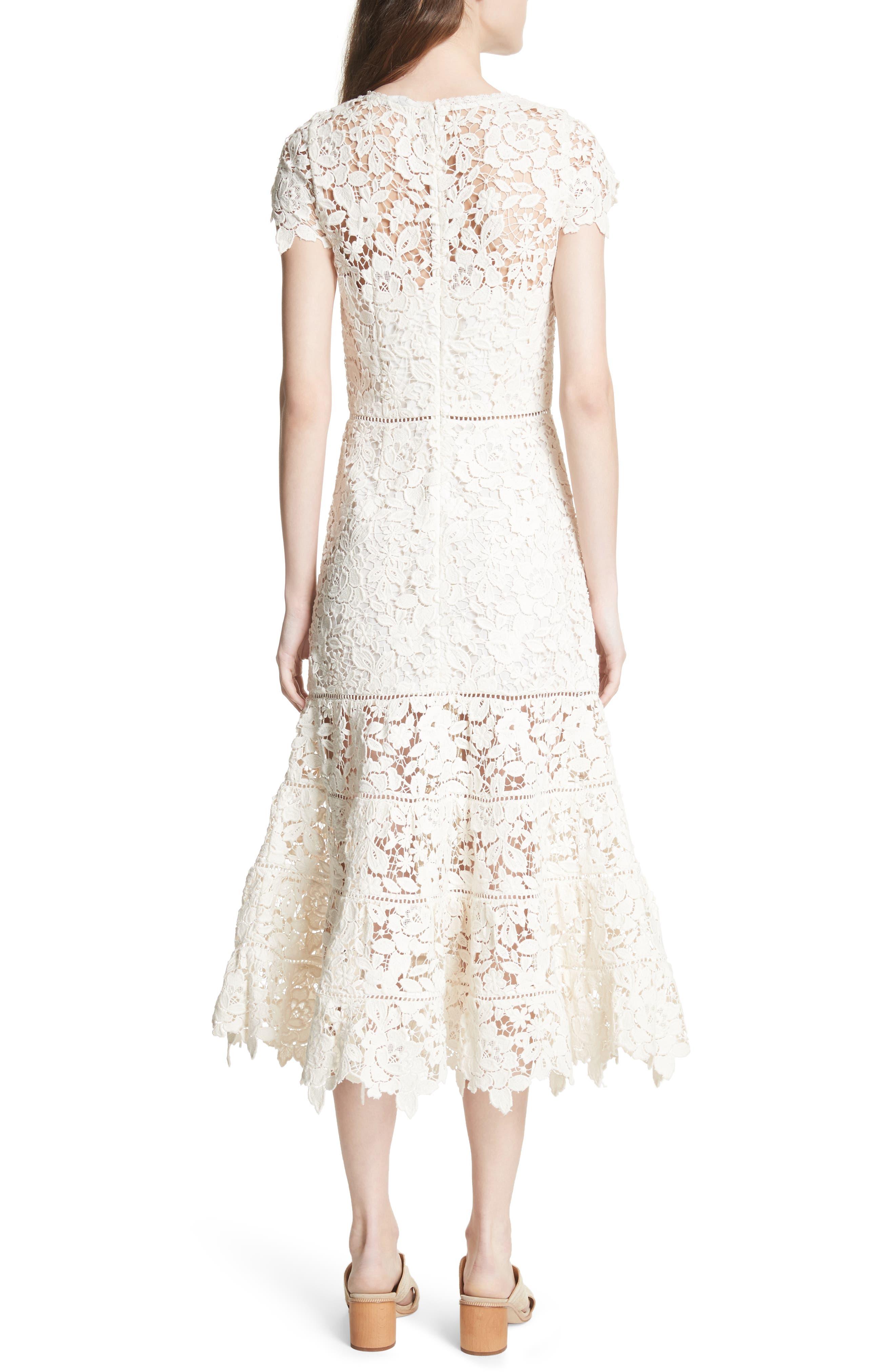 Celedonia Scallop Lace Dress,                             Alternate thumbnail 2, color,                             PORCELAIN