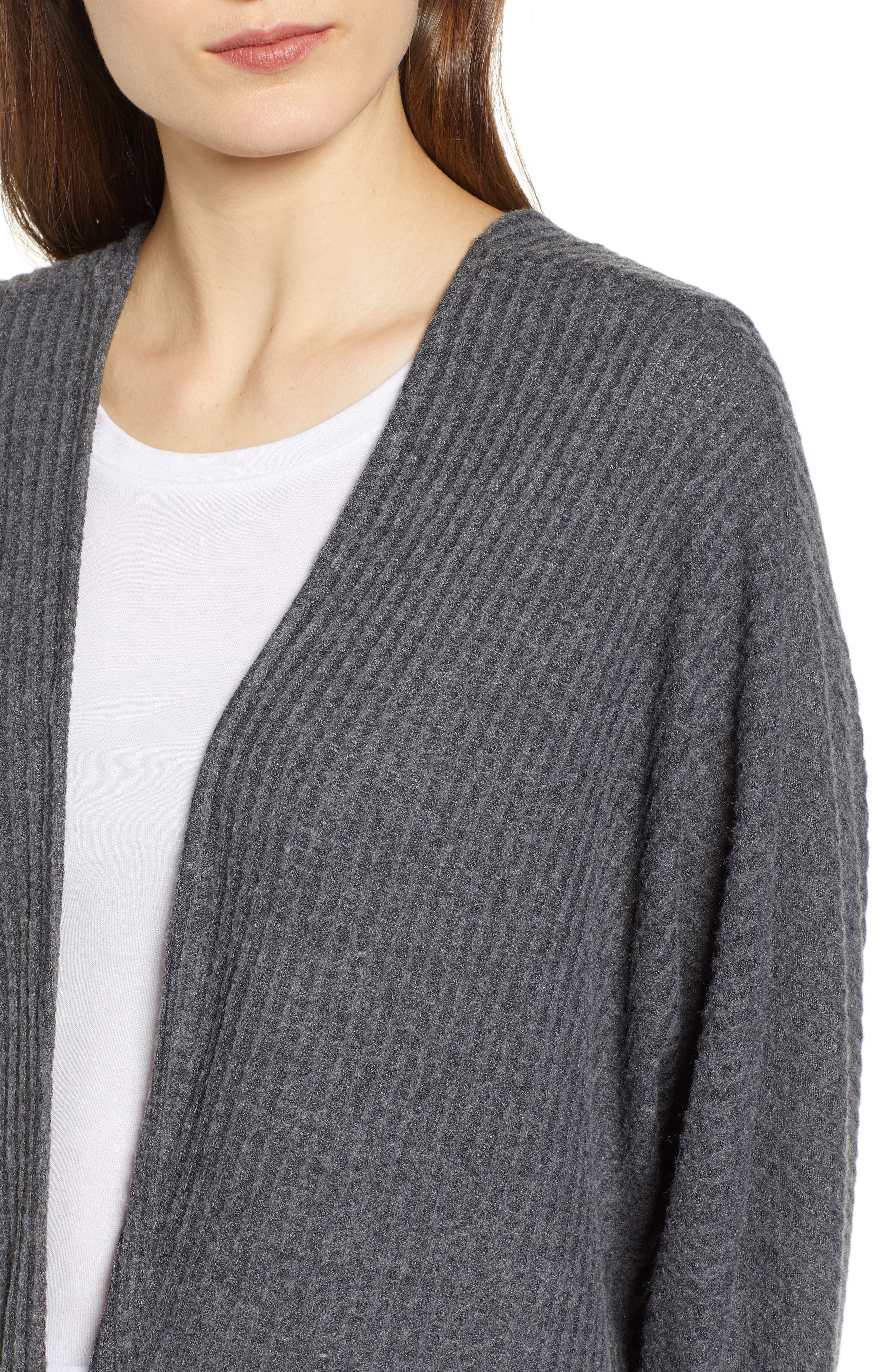 Keep It Casual Thermal Cardigan,                             Alternate thumbnail 4, color,                             CHARCOAL