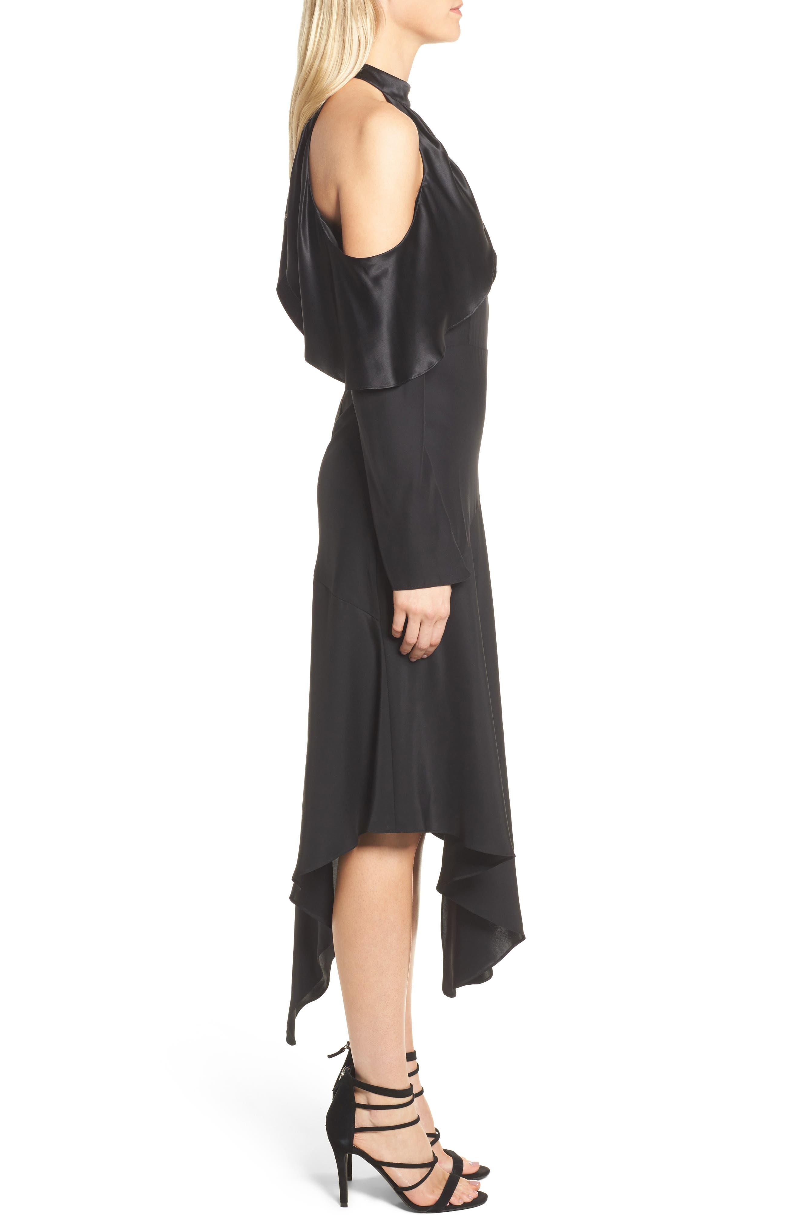 Tanya Cold Shoulder Silk Dress,                             Alternate thumbnail 3, color,                             001