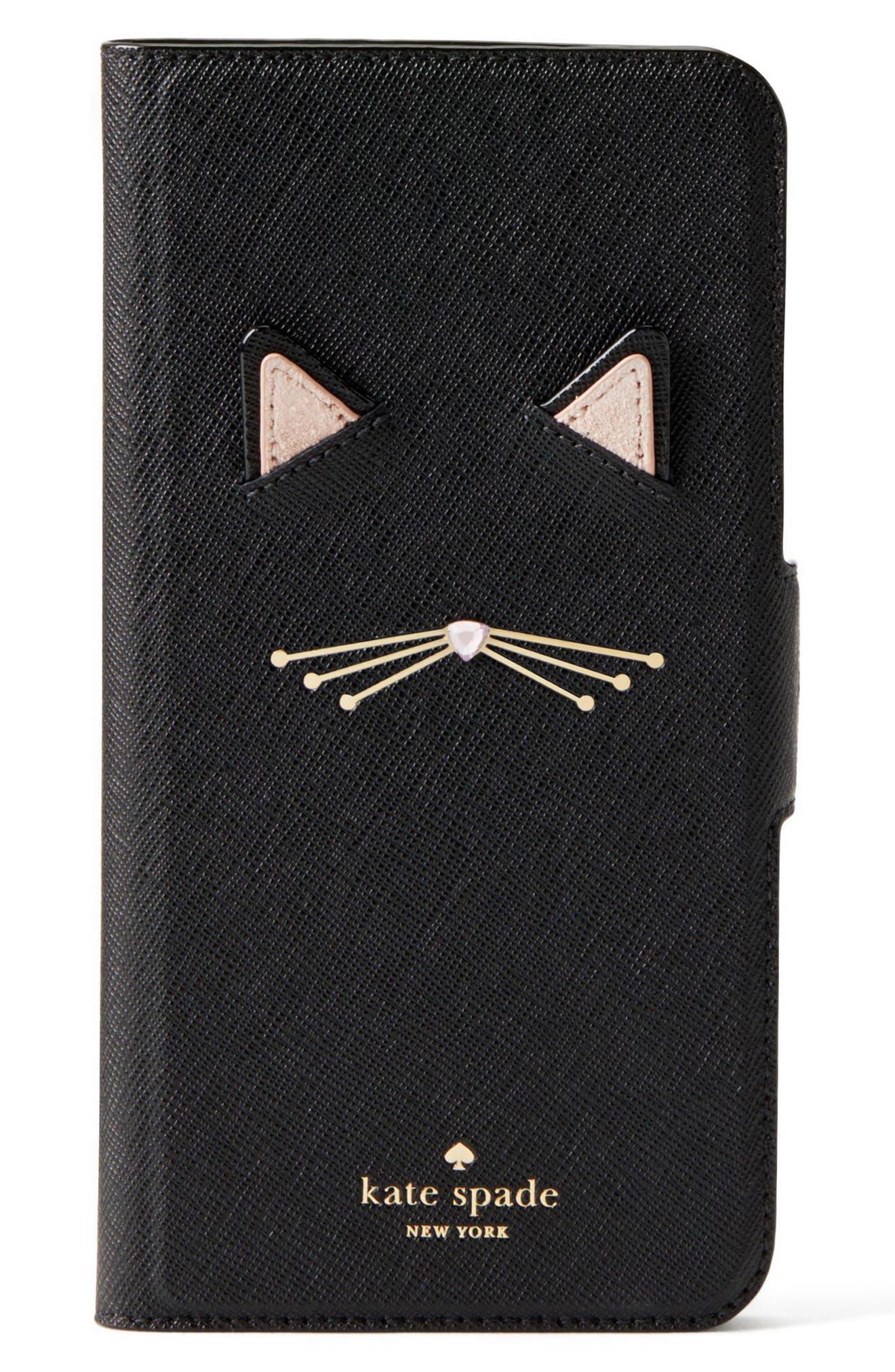 KATE SPADE NEW YORK,                             cat appliqué iPhone 7/8 & 7/8 Plus folio case,                             Main thumbnail 1, color,                             001