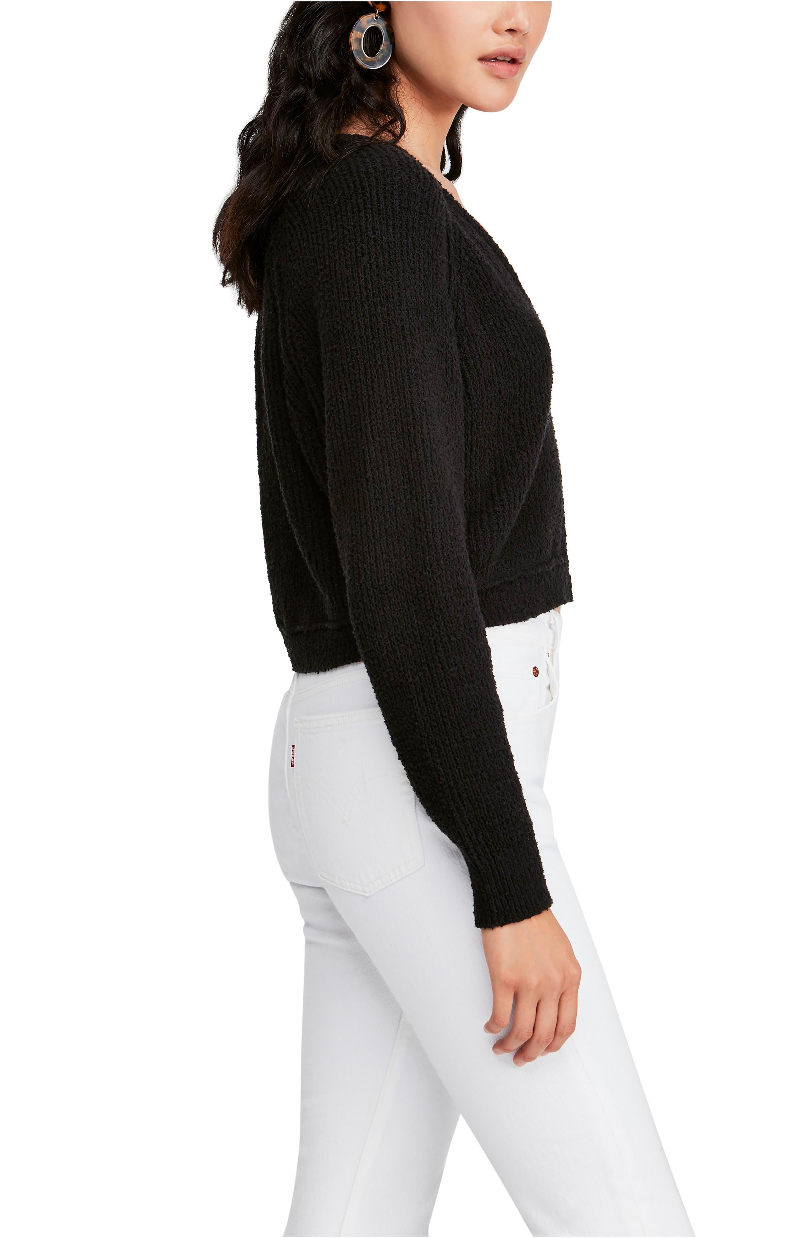 FREE PEOPLE,                             V-Neck Sweater,                             Alternate thumbnail 3, color,                             BLACK